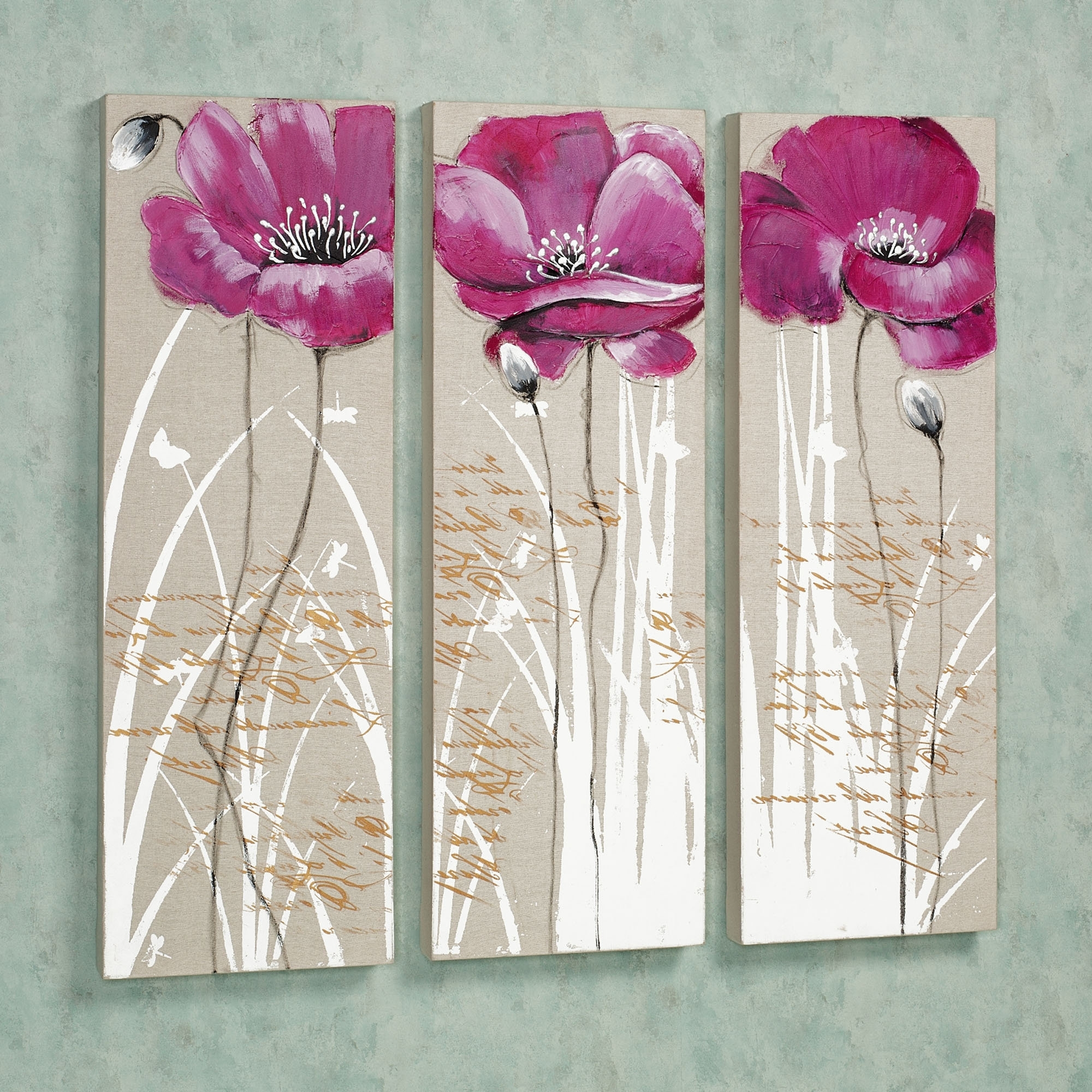 Pink Flower Wall Art With Famous Wall Art Designs: Charming Floral Pictures Pink Flower Canvas Wall (View 7 of 15)