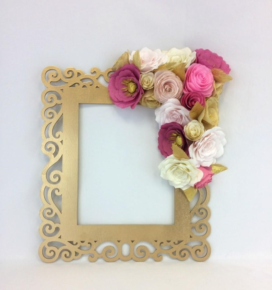 Pink Flower Wall Art With Regard To Preferred Floral Frame, Photo Prop, 3D Flower Wall Art, Paper Flower Wall (View 8 of 15)