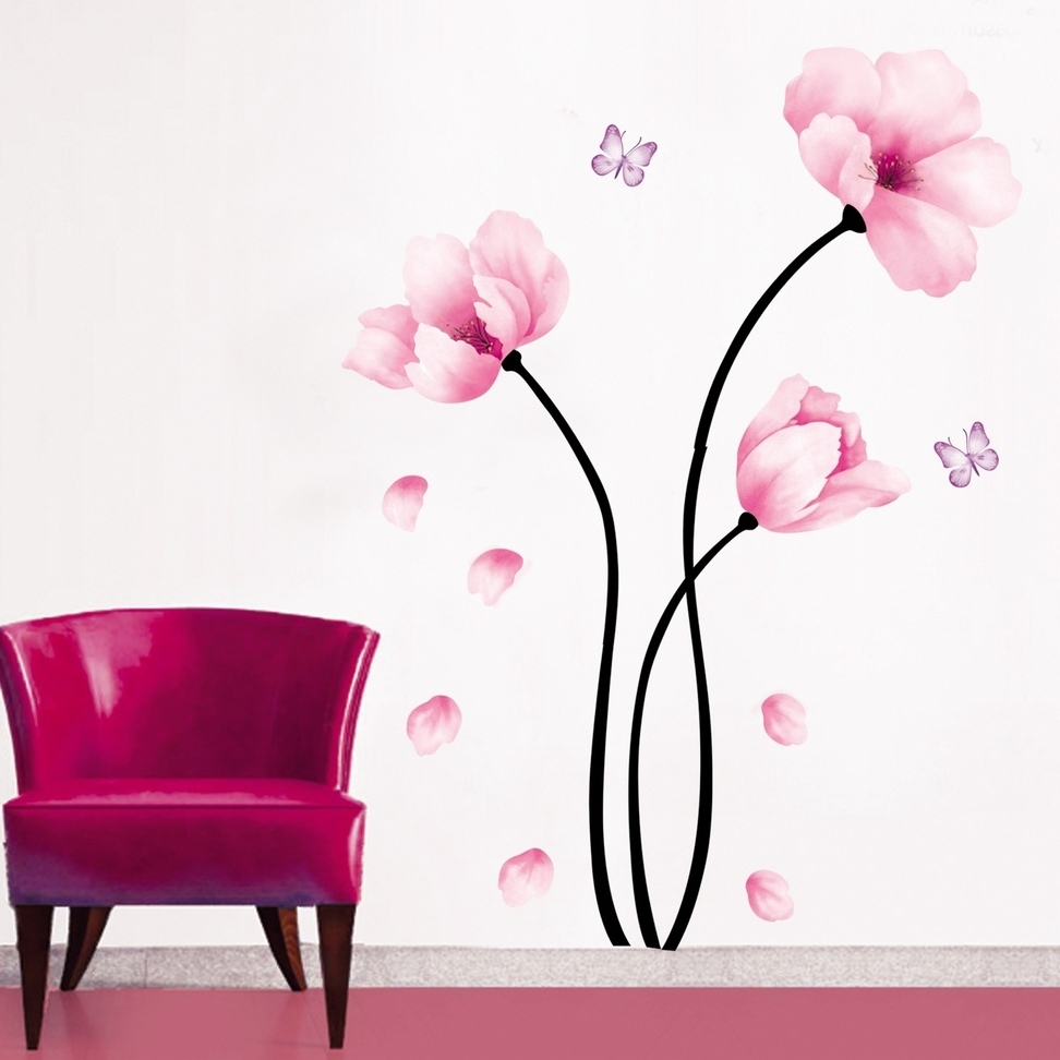Pink Flower Wall Art Within Latest Marvelous 3D Flower Wall Decor 5 Fabric Art Magenta ~ Loversiq (View 10 of 15)