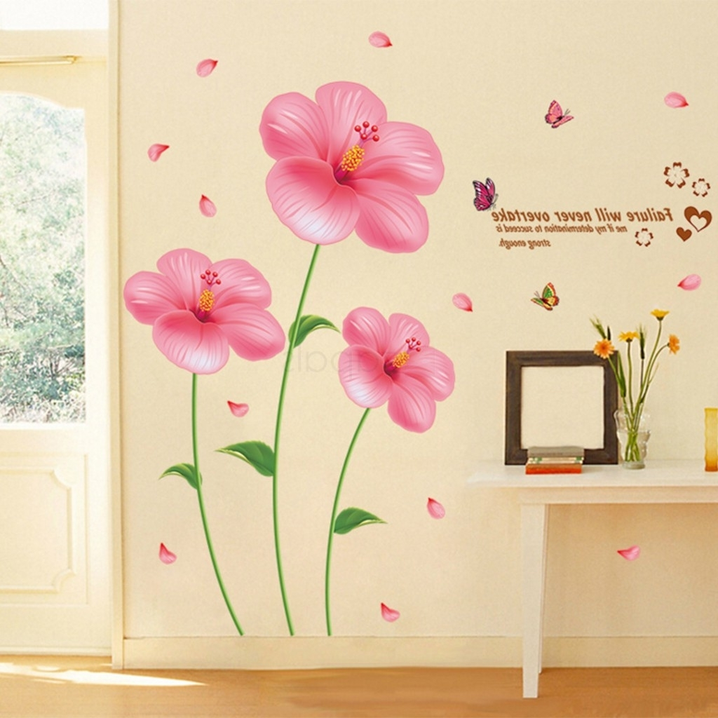 Pink Flower Wall Stickers Living Room Bedroom Wall Art Decals For Well Known Pink Flower Wall Art (View 11 of 15)
