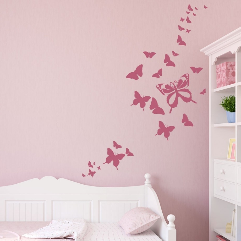 Pink Painting With Butterflies Patterns Wall Decals For Kids Rooms With Regard To Most Up To Date Butterflies Wall Art Stickers (View 6 of 15)