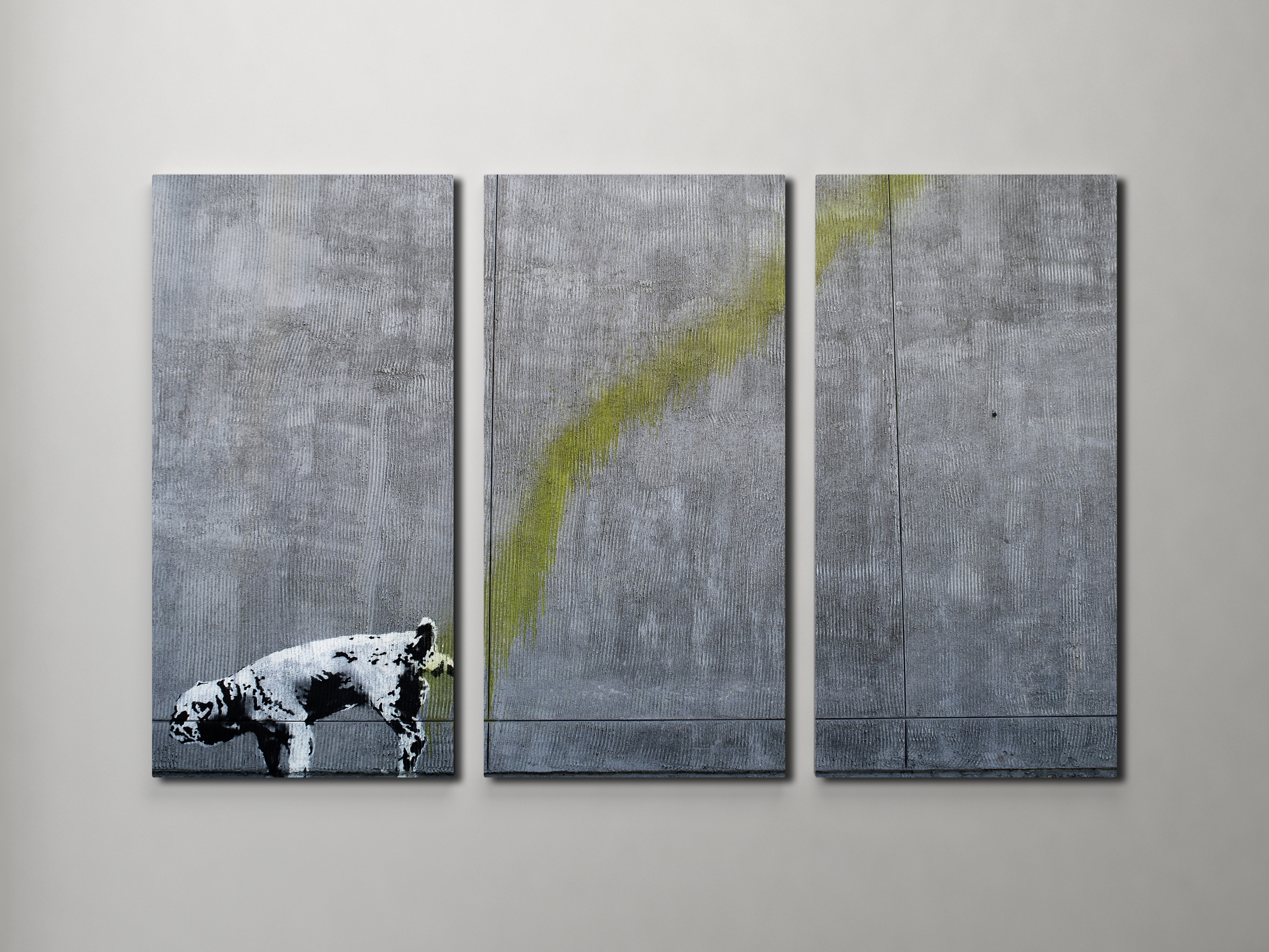 Pissing Dog Triptych Canvas Wall Art Intended For Most Popular Dogs 3D Wall Art (View 8 of 15)