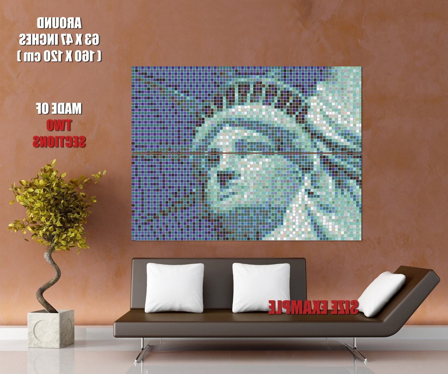 Pixel Mosaic Wall Art Within Well Known Statue Of Liberty New York Mosaic Pixel Art Wall Print Poster Uk (View 10 of 15)