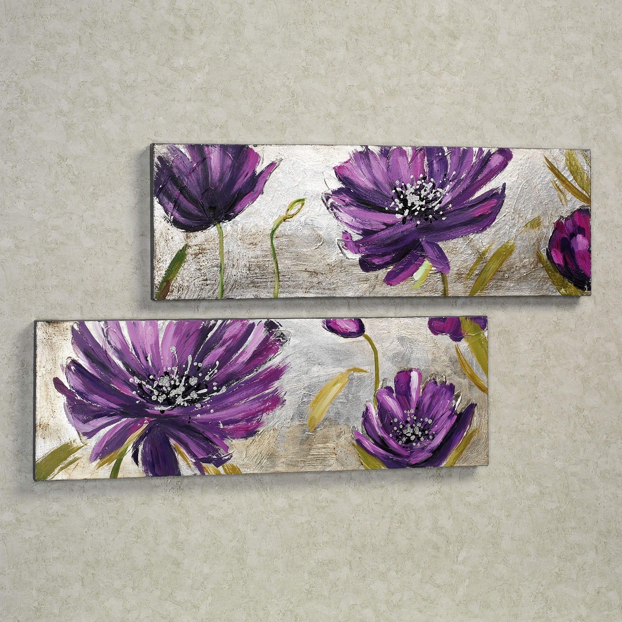 Plum Coloured Wall Art For Most Current Purple Allure Floral Canvas Wall Art Set (View 6 of 15)