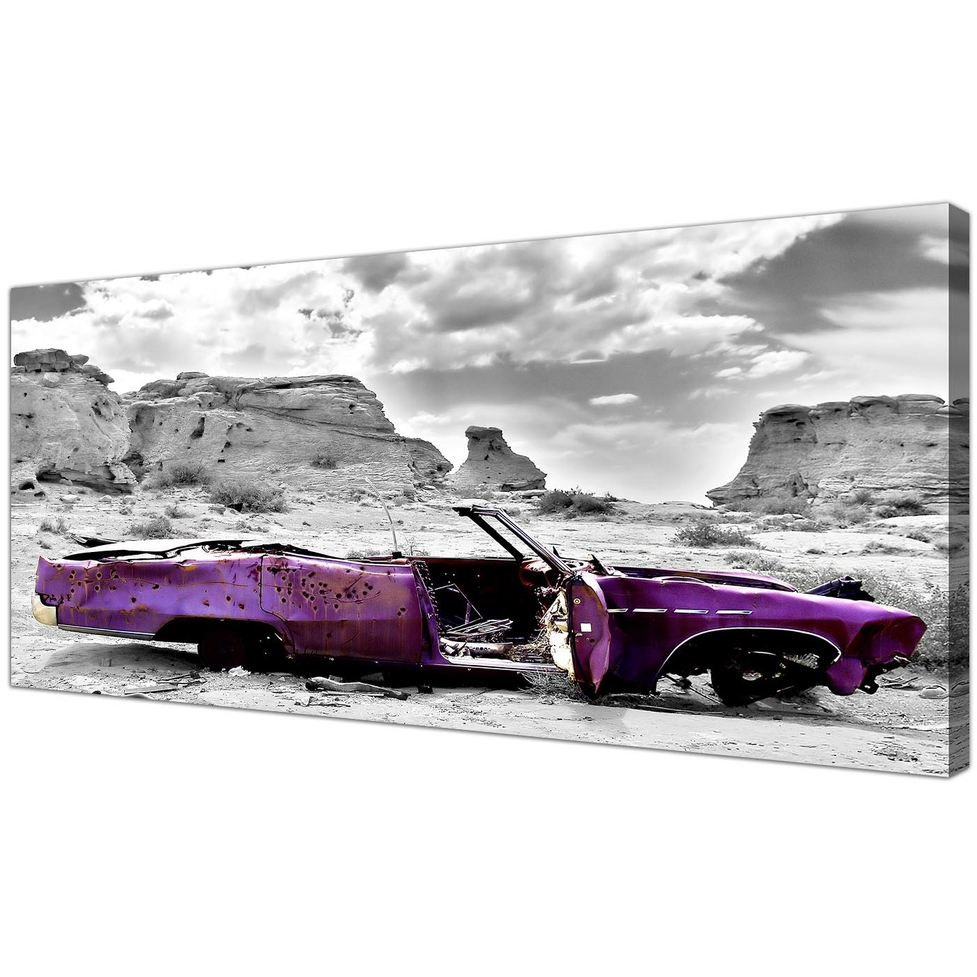 Plum Coloured Wall Art In Well Known Modern Black And White Canvas Prints Of A Purple Car (View 7 of 15)