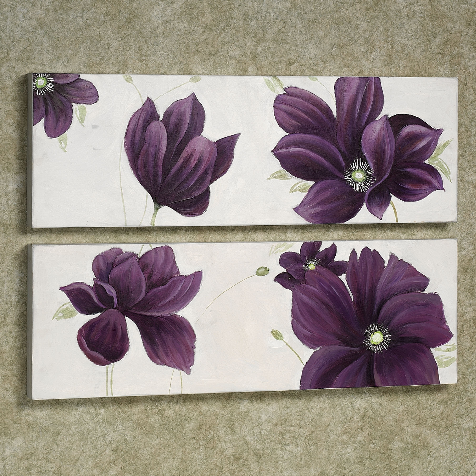 Plum Coloured Wall Art Pertaining To Preferred Floral Whispers Canvas Wall Art Set (View 10 of 15)