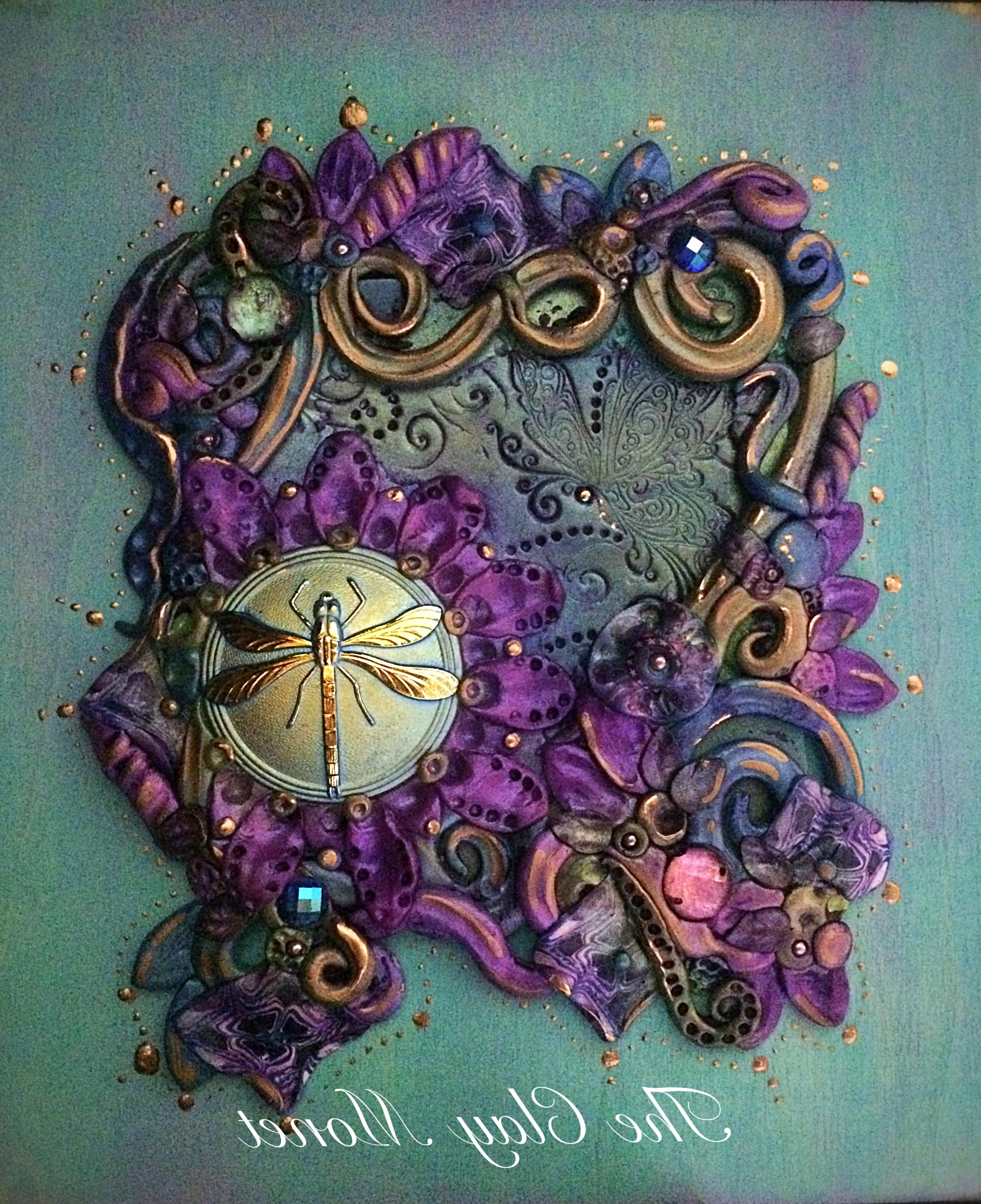 Polymer Clay Wall Art Inside Current Moon Glow Enchanted Dragonfly Polymer Clay Hanging Wall Plaque (View 7 of 15)