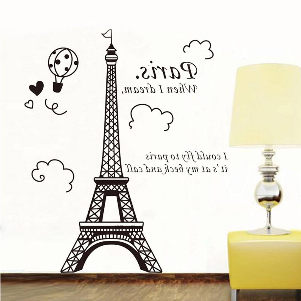 Popular 1 X Eiffel Tower Diy Removable Art Vinyl Wall Sticker Decor Mural Throughout Eiffel Tower Wall Art (View 3 of 15)