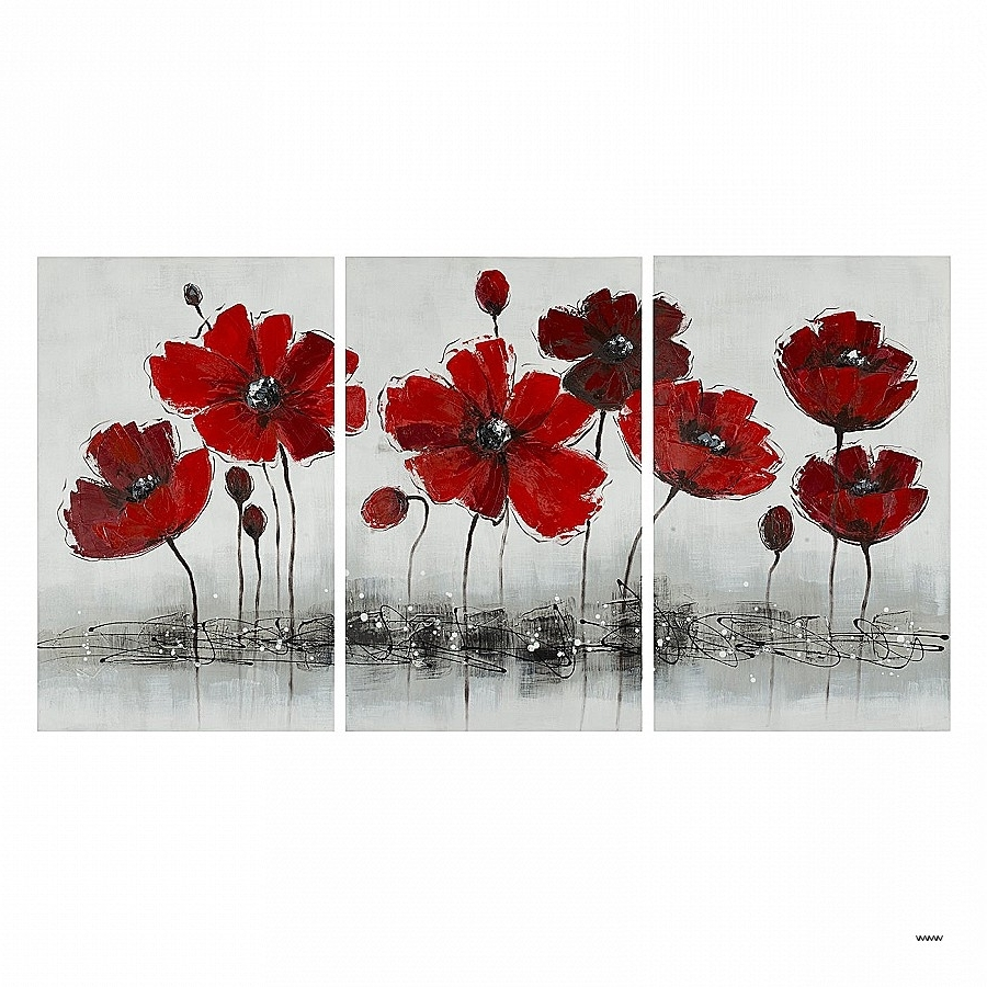 Popular 3 Piece Floral Wall Art Throughout 3 Piece Floral Wall Art Lovely Safavieh Art2012A Three Piece Red (View 13 of 15)