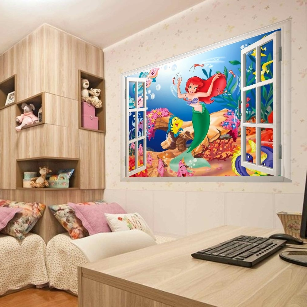 Popular 3D Wall Art For Bedrooms Intended For Mermaid In The Sea 3D Window View Wall Art Mural Sticker (View 13 of 15)