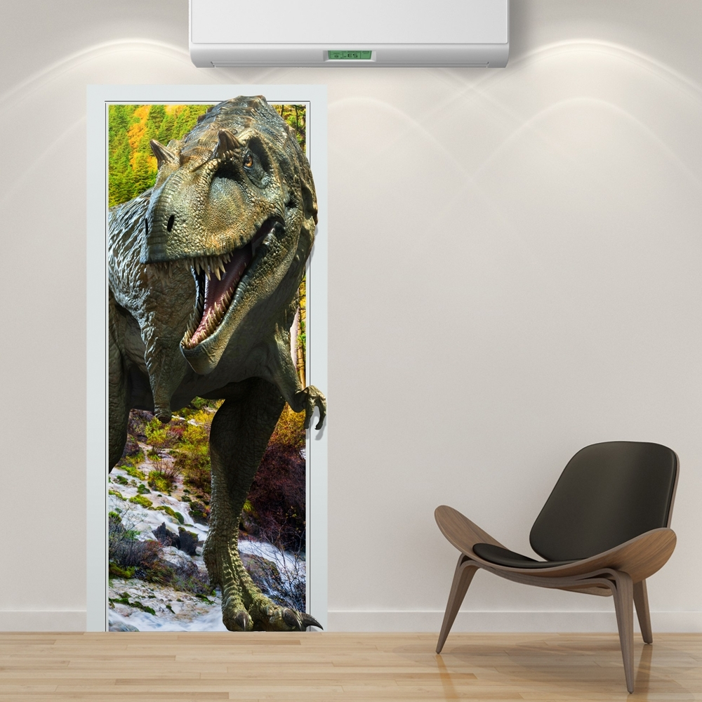 Popular 88X200Cm Pag Imitative Door 3D Wall Sticker Fiery Dragon With Regard To 3D Dinosaur Wall Art Decor (View 14 of 15)