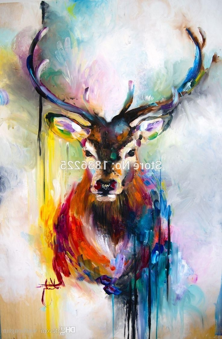 Popular Abstract Deer Wall Art With Regard To Online Cheap Colorful Bright Color Canvas Wall Art Deer Abstract (View 9 of 15)