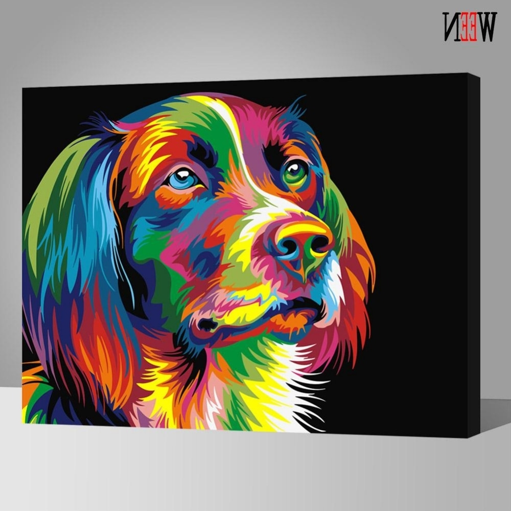 Popular Abstract Dog Wall Art With Regard To Ween Colorful Dog Abstract Painting Diy Digital Paintngnumbers (View 11 of 15)