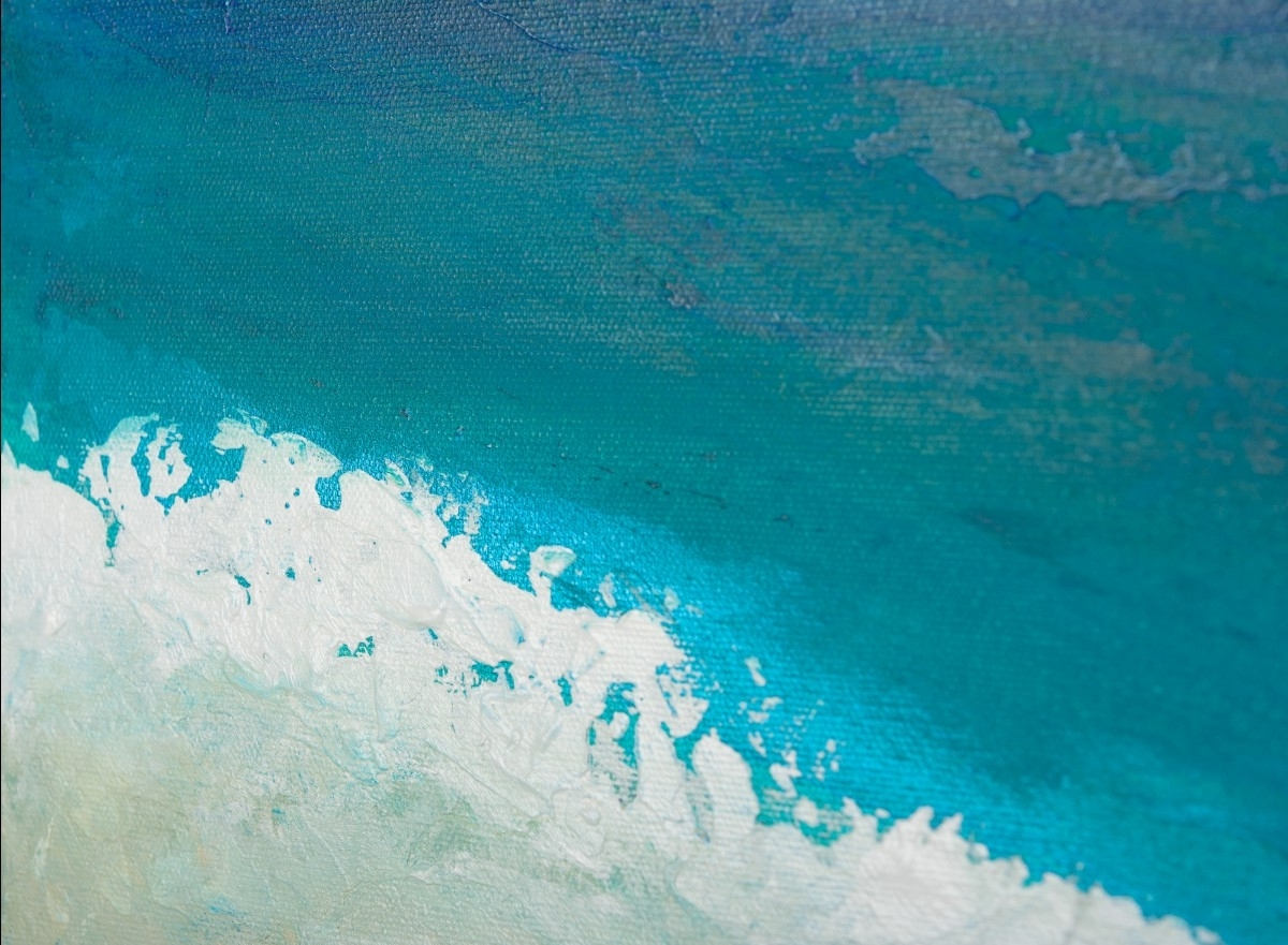 "Popular Abstract Ocean Wall Art Regarding Reach The Shoreqiqigallery 48""x24"" Original Large Blue (View 9 of 15)"