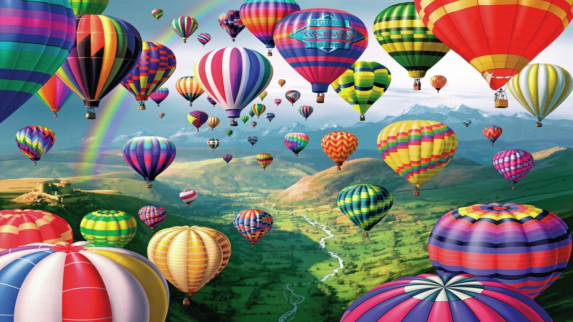 Popular Air Balloon 3d Wall Art With Hot Air Balloons Hd Wallpaper 581288 (1920×1080) (View 10 of 15)