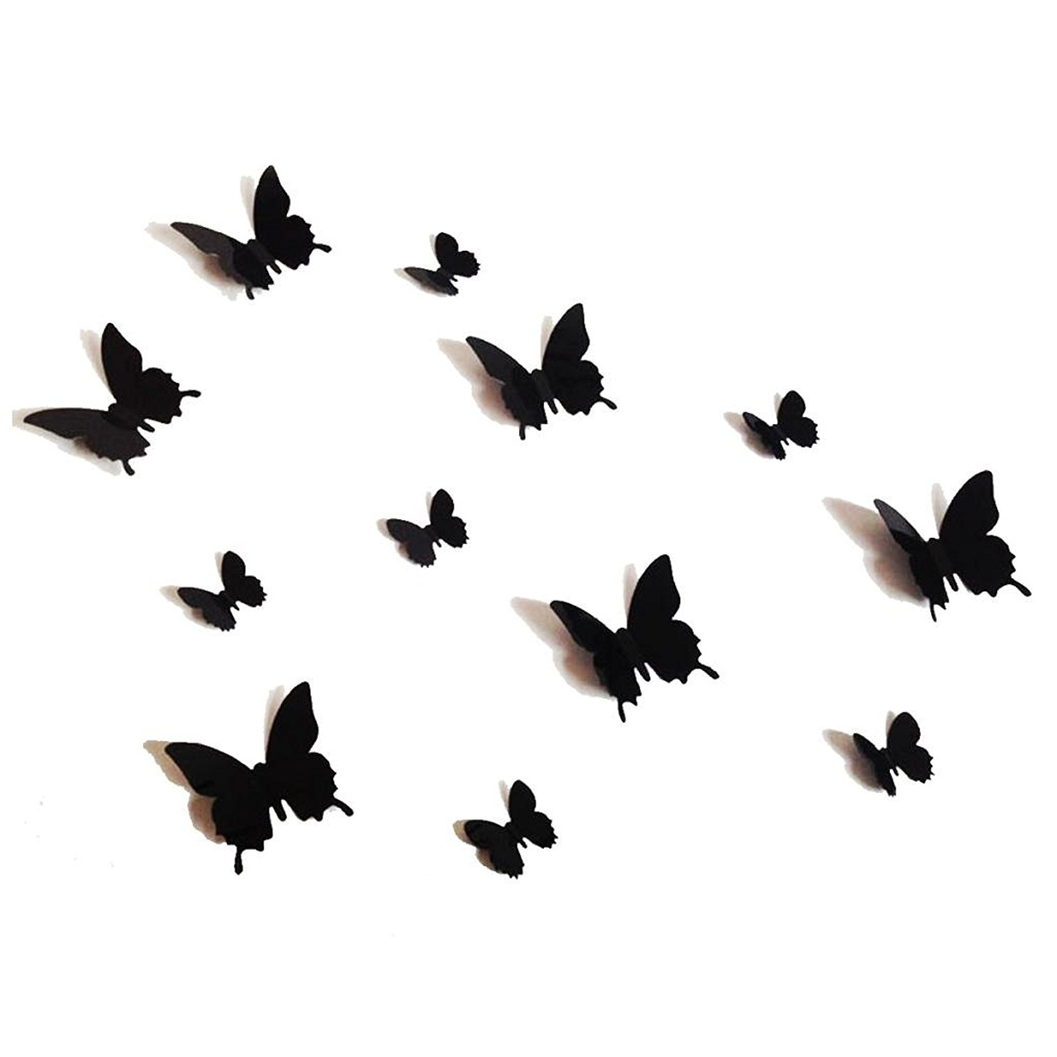 Popular Amazon: 12Pcs 3D Black Butterfly Wall Stickers Art Decal Pvc Throughout 3D Butterfly Wall Art (View 10 of 15)