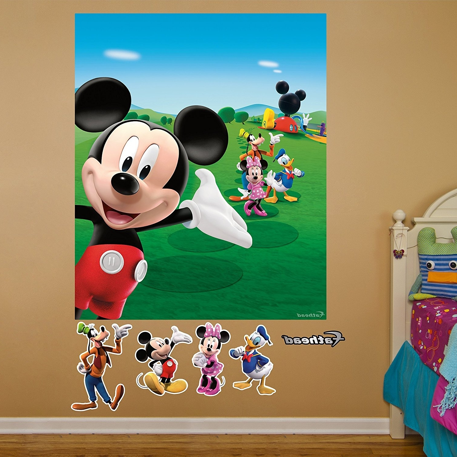 Popular Amazon: Fathead Mickey Mouse Clubhouse Mural Graphic Wall Intended For Mickey Mouse Clubhouse Wall Art (View 13 of 15)