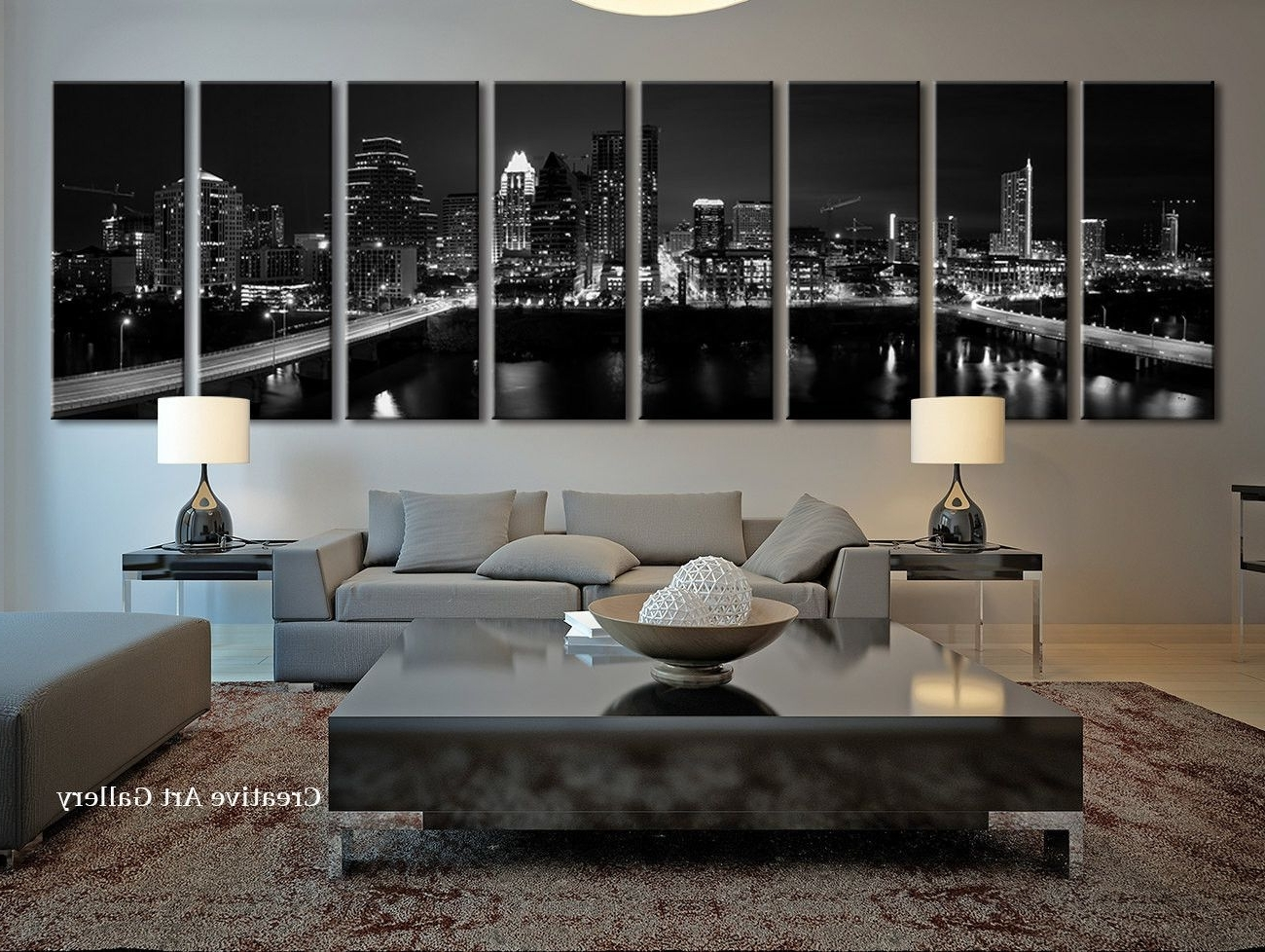 Popular Austin City Art – Extra Large Night In Austin, Texas Canvas Print Regarding Extra Large Wall Art Prints (View 8 of 15)