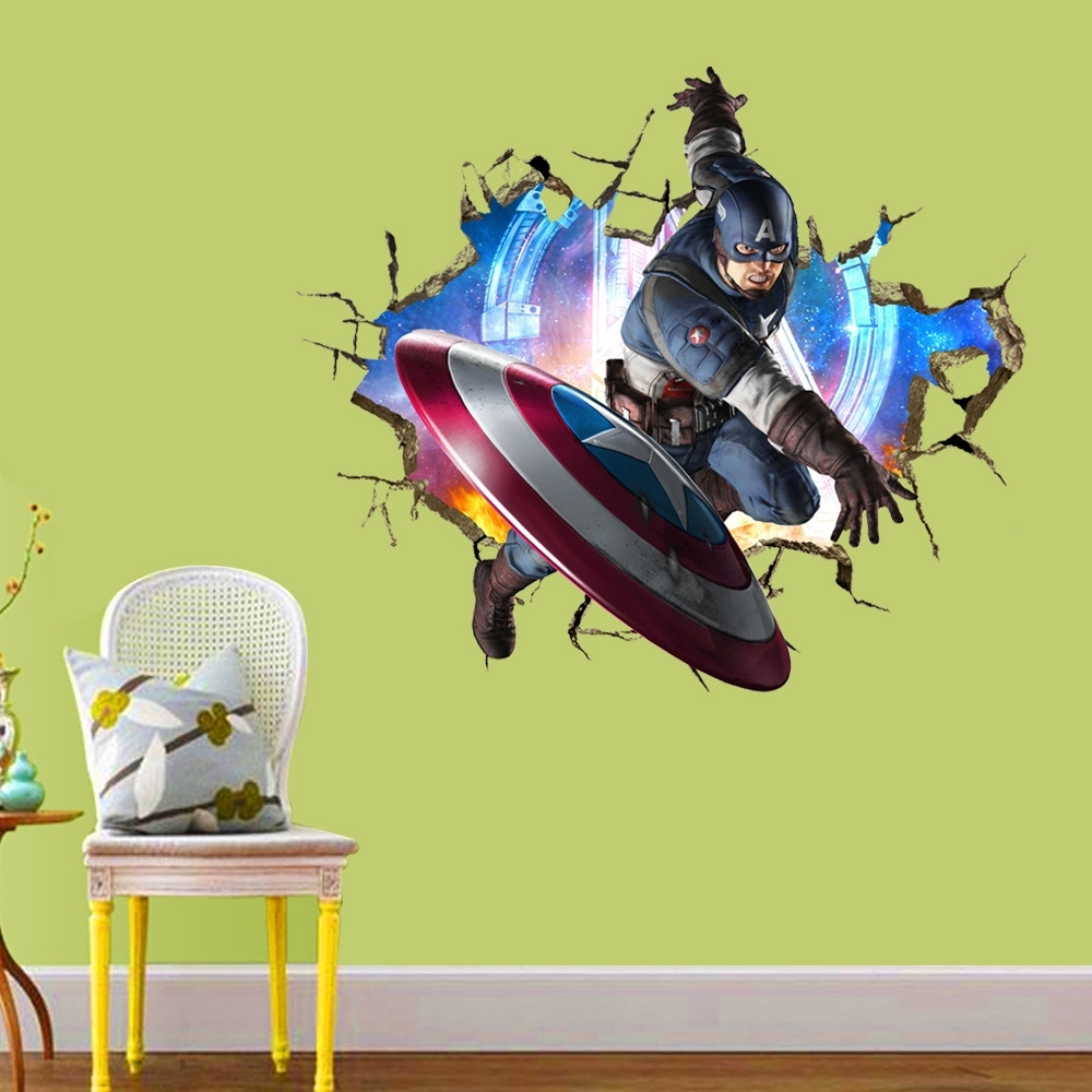 Popular Avengers 3d Through Wall Stickers Decals Art For Baby Nursery Home Within Captain America 3d Wall Art (View 5 of 15)