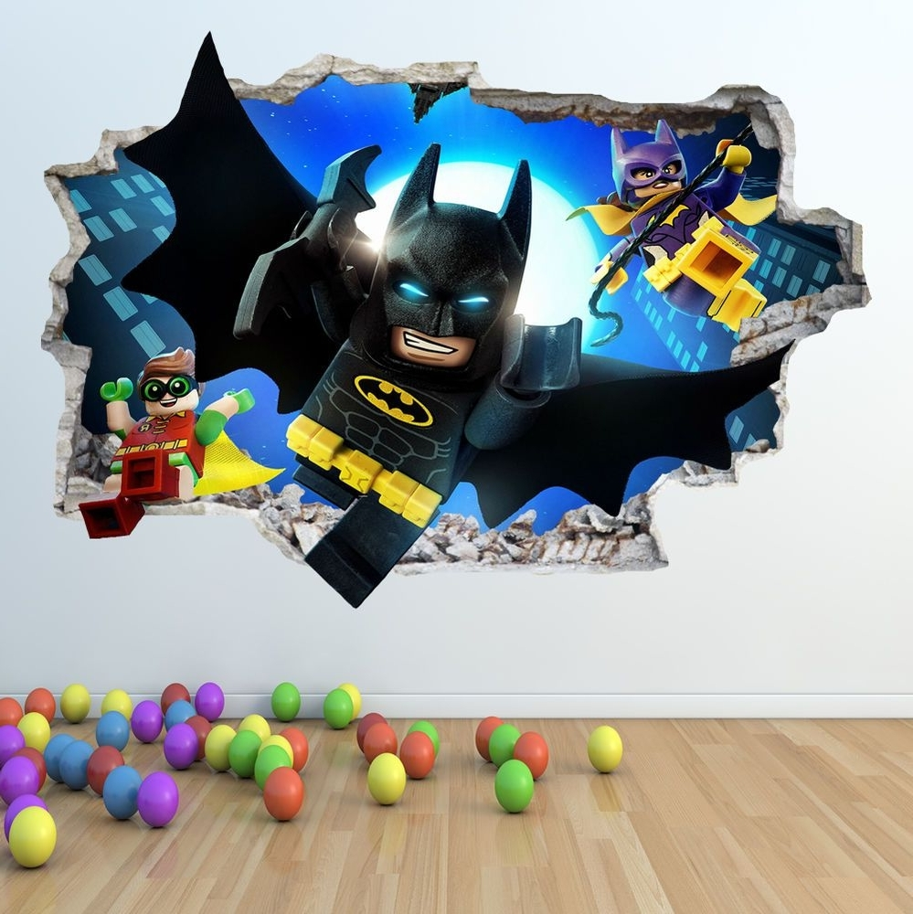 Popular Batman 3D Wall Art Inside Lego Batman Wall Sticker 3D Look – Boys Girls Bedroom Wall Art (View 12 of 15)