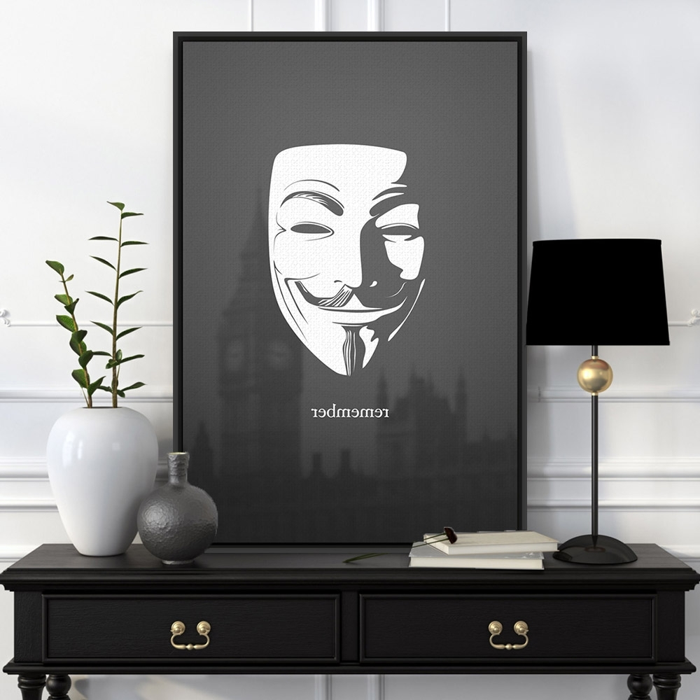 Popular Black And White Abstract Wall Art Pertaining To Black White London Pop Film Hero V For Vendetta Canvas Large Art (View 7 of 15)
