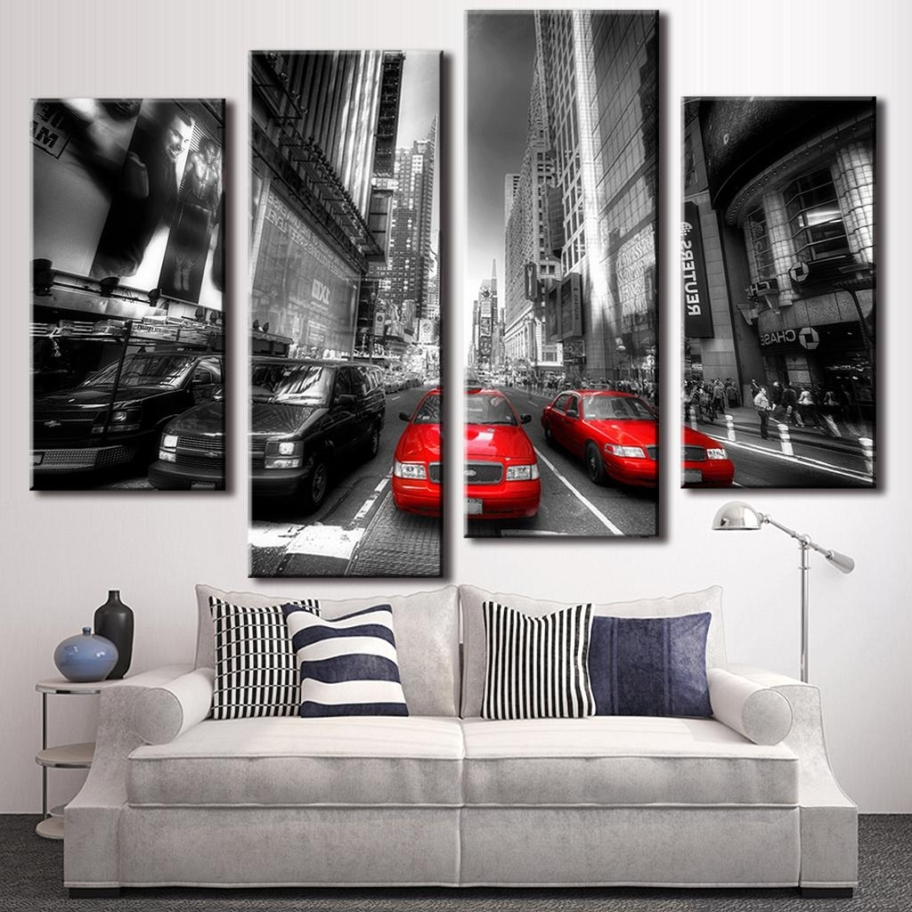 Popular Black White And Red Wall Art In 4 Pcs/set Landscape Car Wall Art Decoration Modern City Red Taxis (View 10 of 15)