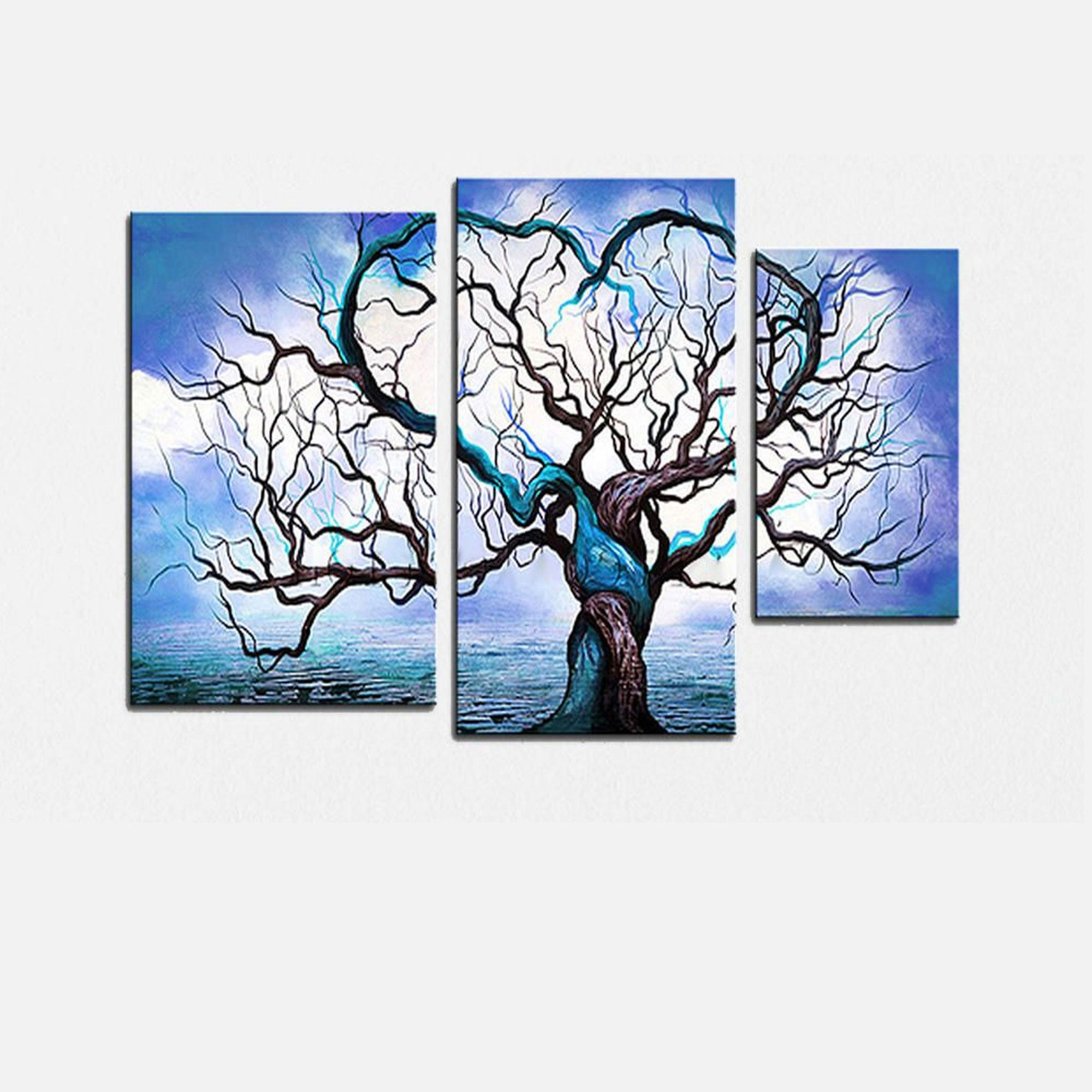 Popular Blue Canvas Abstract Wall Art Pertaining To Blue Tree Love Landscape Canvas Wall Art Oil Painting (View 12 of 15)