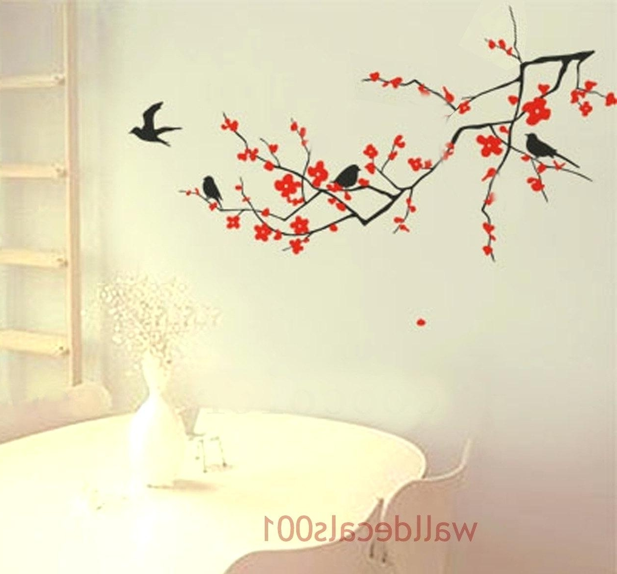 Popular Cherry Blossom Vinyl Wall Art Within Cherry Blossom Vinyl Wall Decal Wall Art Designs Floral Wall Art (View 9 of 15)