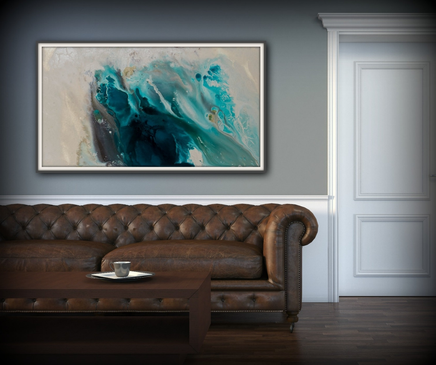 Popular Coastal Wall Art Canvas Pertaining To Abstract Art Blue Wall Art Coastal Landscape Giclee Large Print On (View 9 of 15)
