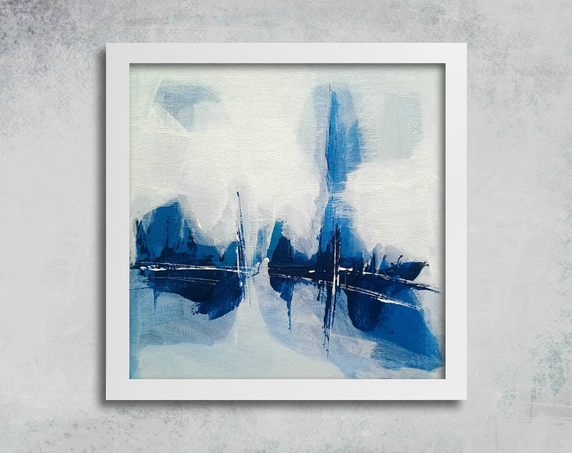 Popular Dark Blue Abstract Wall Art Within Abstract Art On Canvas Original Art Abstract Wall Art Abstract (View 12 of 15)