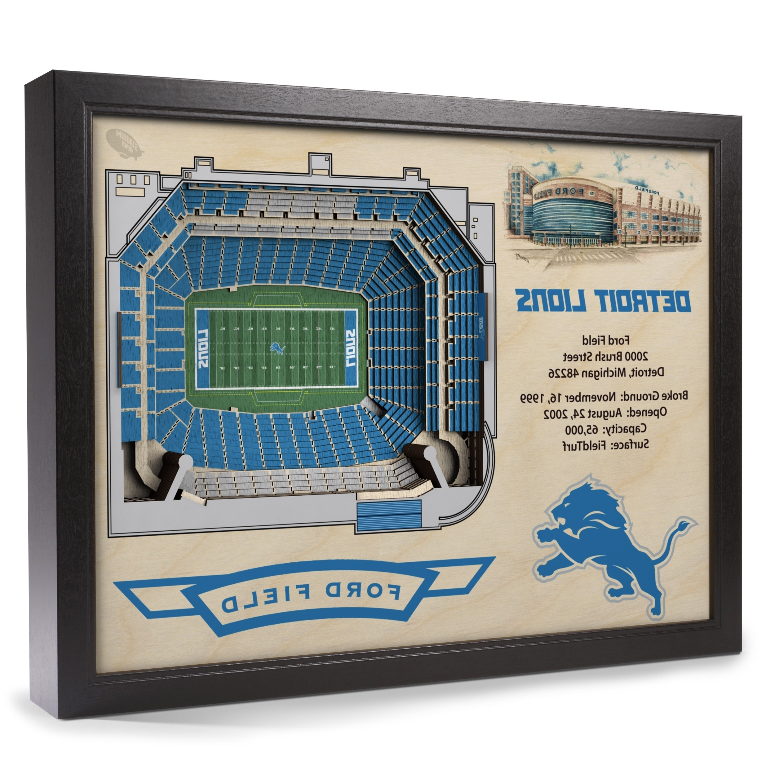 Popular Detroit Lions Stadiumview Wall Art – Ford Field 3 D Reproduction Inside Baseball 3D Wall Art (View 9 of 15)
