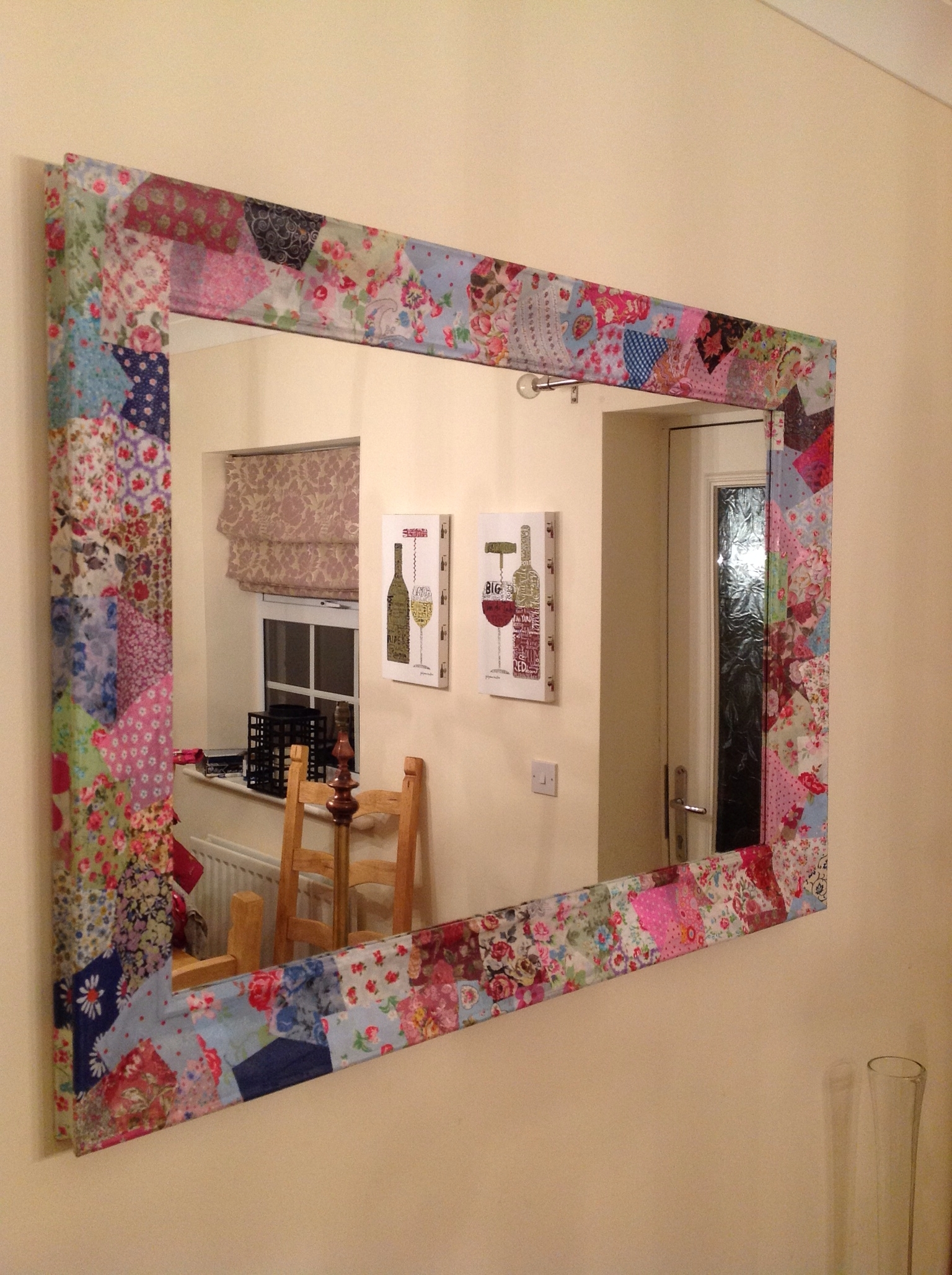 Popular Diy Mirror Wall Art Within Patchwork Quilt Fabric Mirror Frame (View 10 of 15)