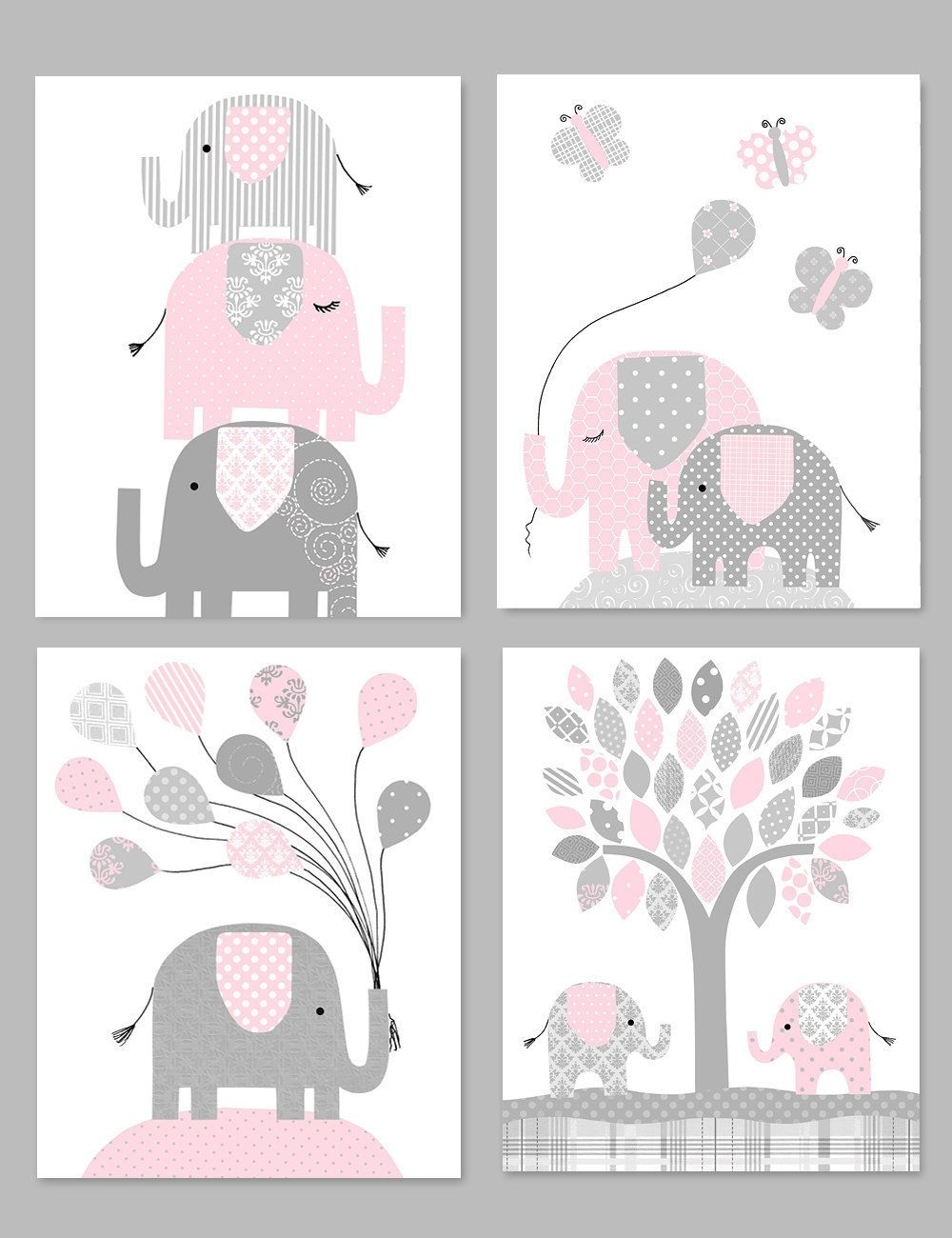 Popular Elephant Nursery Decor, Gray And Pink, Girl Zoo Nursery, Elephant With Nursery Canvas Art (View 12 of 15)