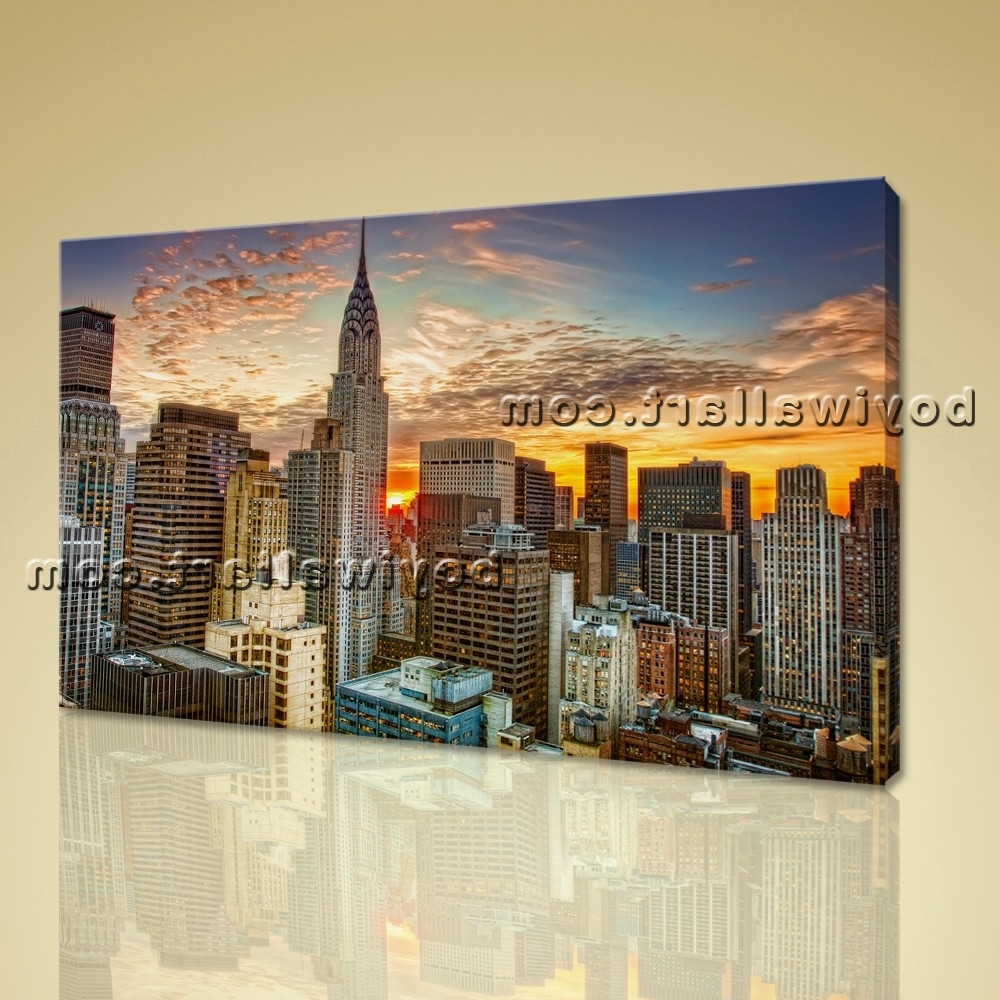 Popular Framed Wall Art New York City Landscape Sunset Picture Print On Canvas Pertaining To Large Framed Wall Art (View 10 of 15)