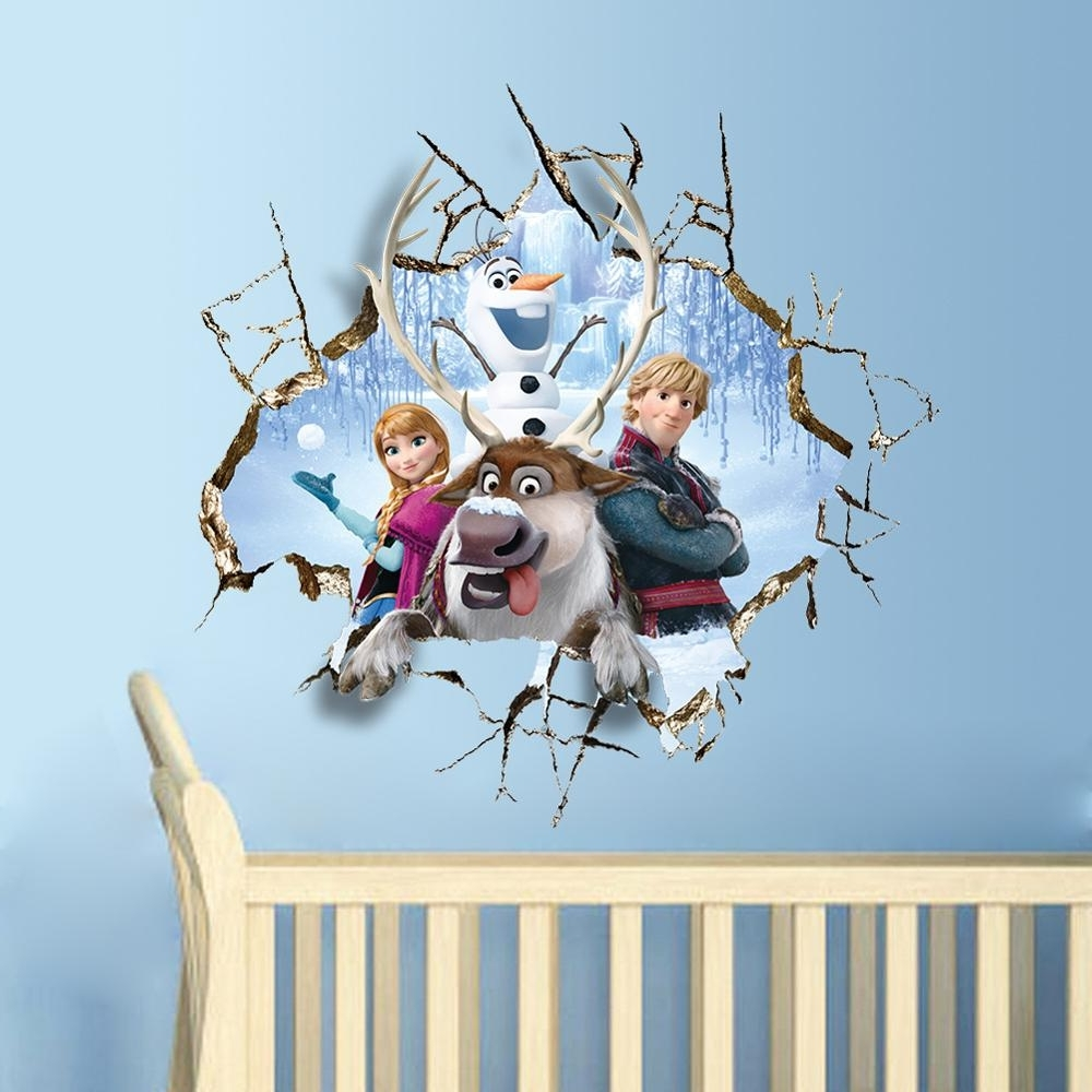 Popular Free Shipping 60*60Cm 3D Wall Art Carton Frozen Wall Stickers Kids For 3D Wall Art Wholesale (View 13 of 15)