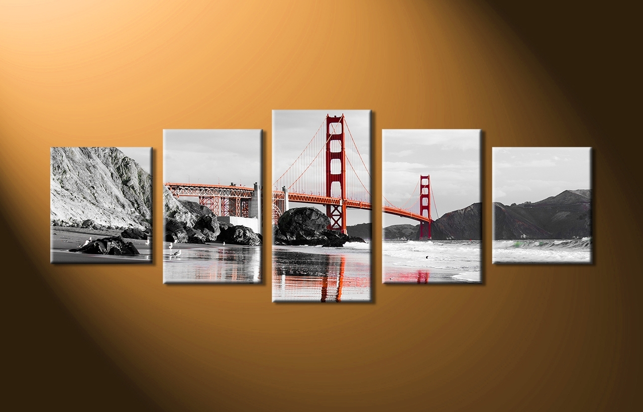 Popular Huge Canvas Wall Art With Regard To 5 Piece City Black And White Huge Canvas Art (View 11 of 15)