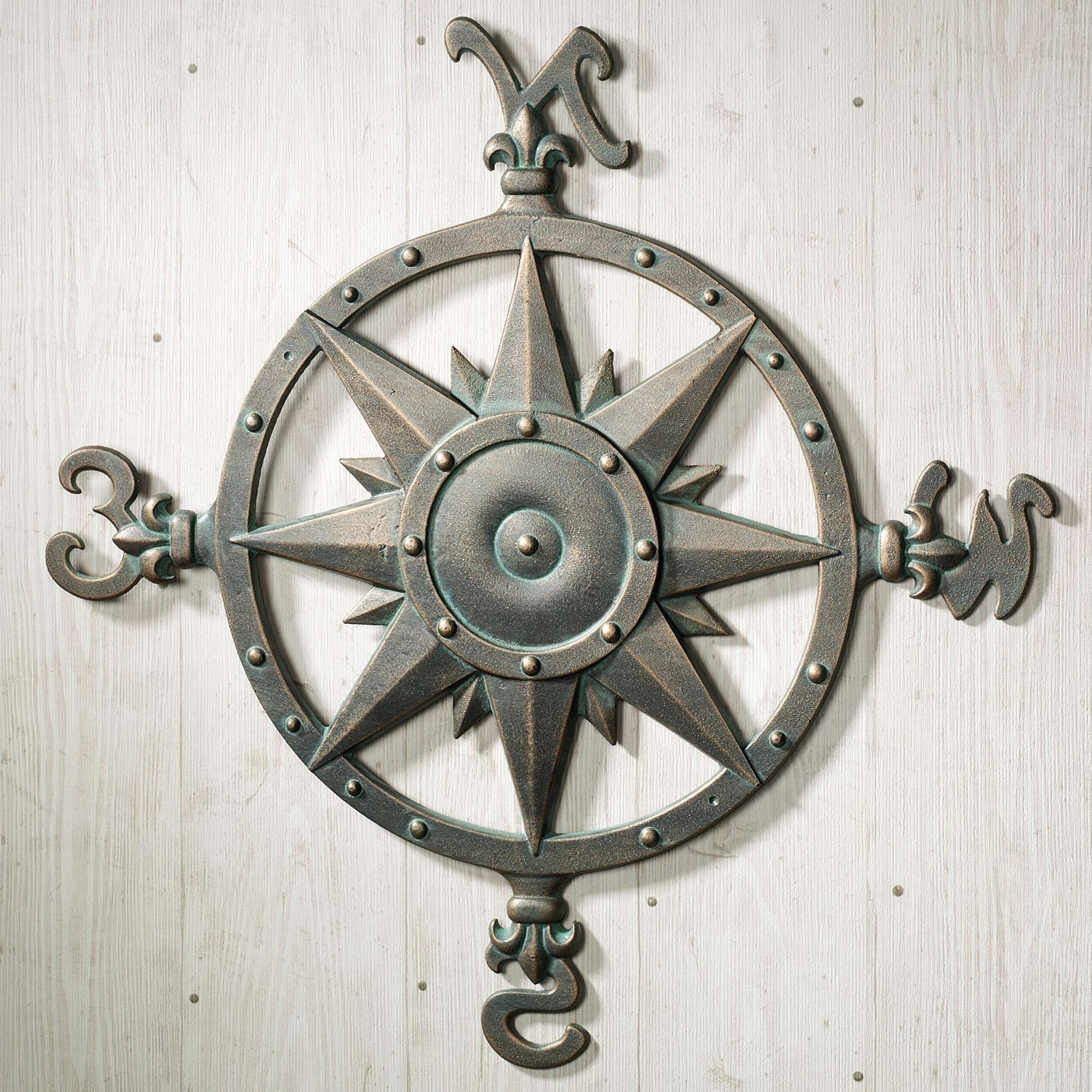 Popular Indoor Outdoor Nautical Compass Metal Wall Art (View 7 of 15)