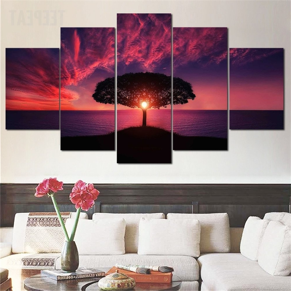 Popular Magnificent Red Sunsetthe Sea – 5 Piece Canvas (View 10 of 15)