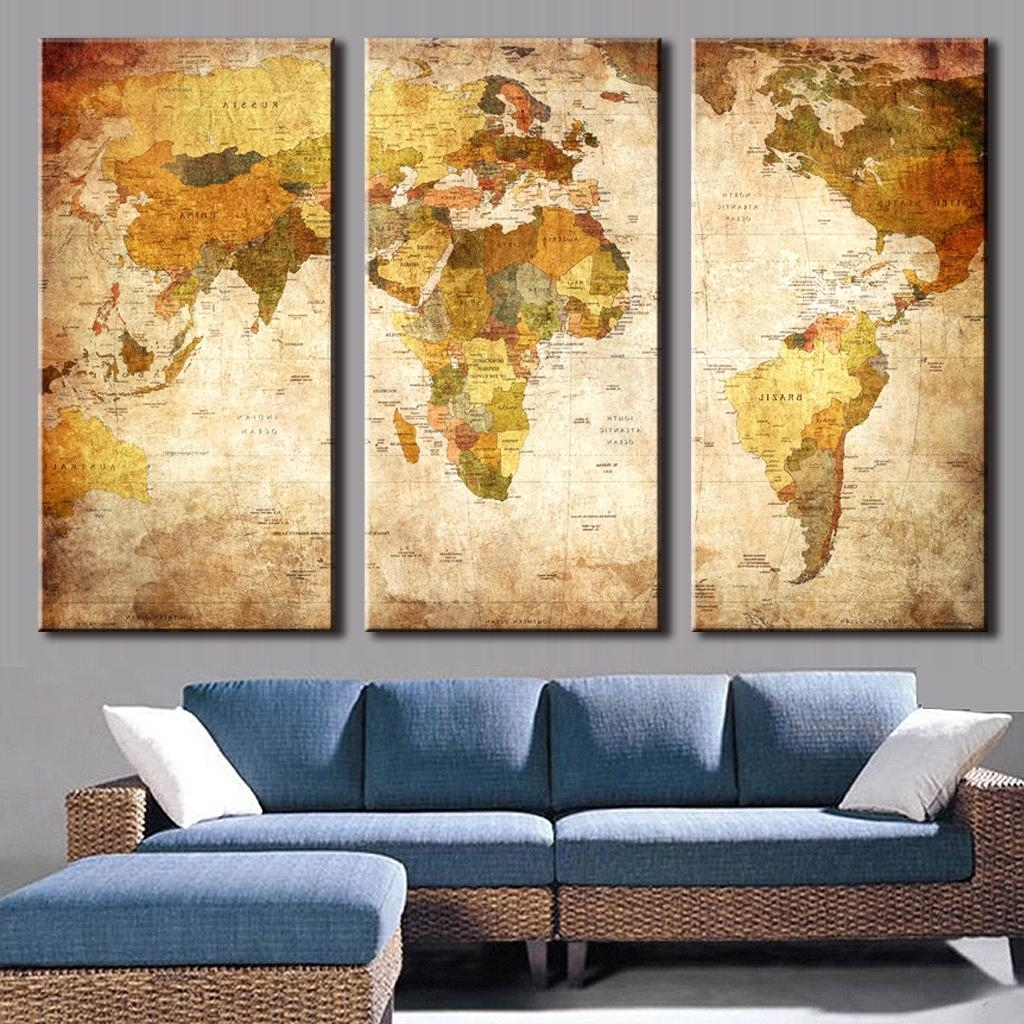 Popular Map Wall Art Intended For 3 Pcs/set Classic World Maps Wall Art For Living Room Retro Yellow (View 13 of 15)