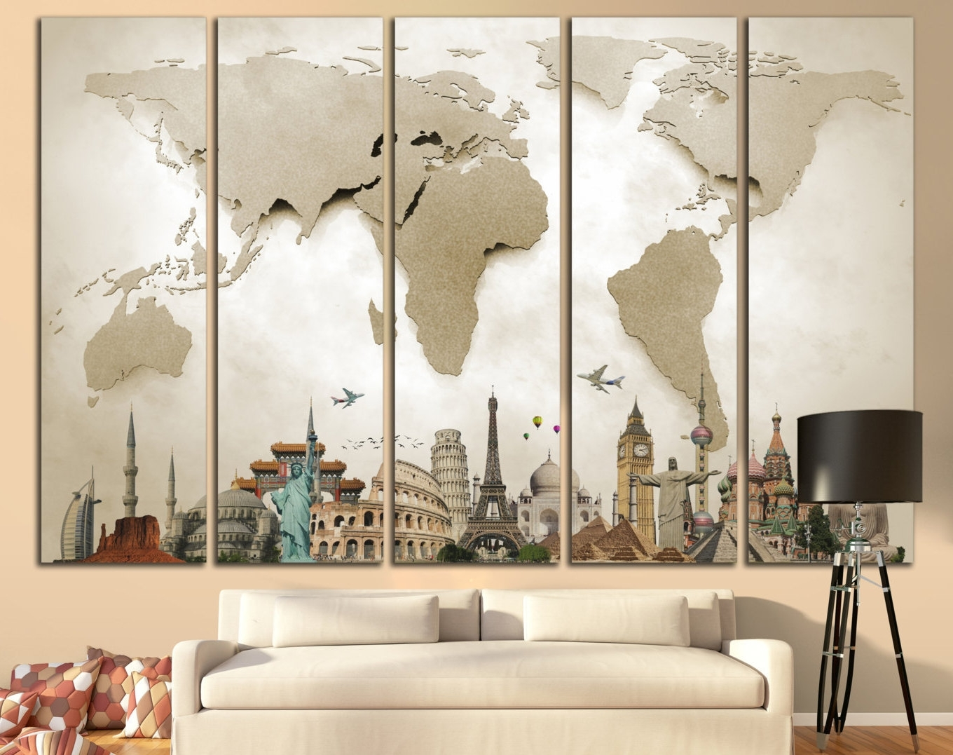 Popular Maps For Wall Art Inside Wall Art Designs: Large Wall Art World Map Large Print Beige World (View 7 of 15)