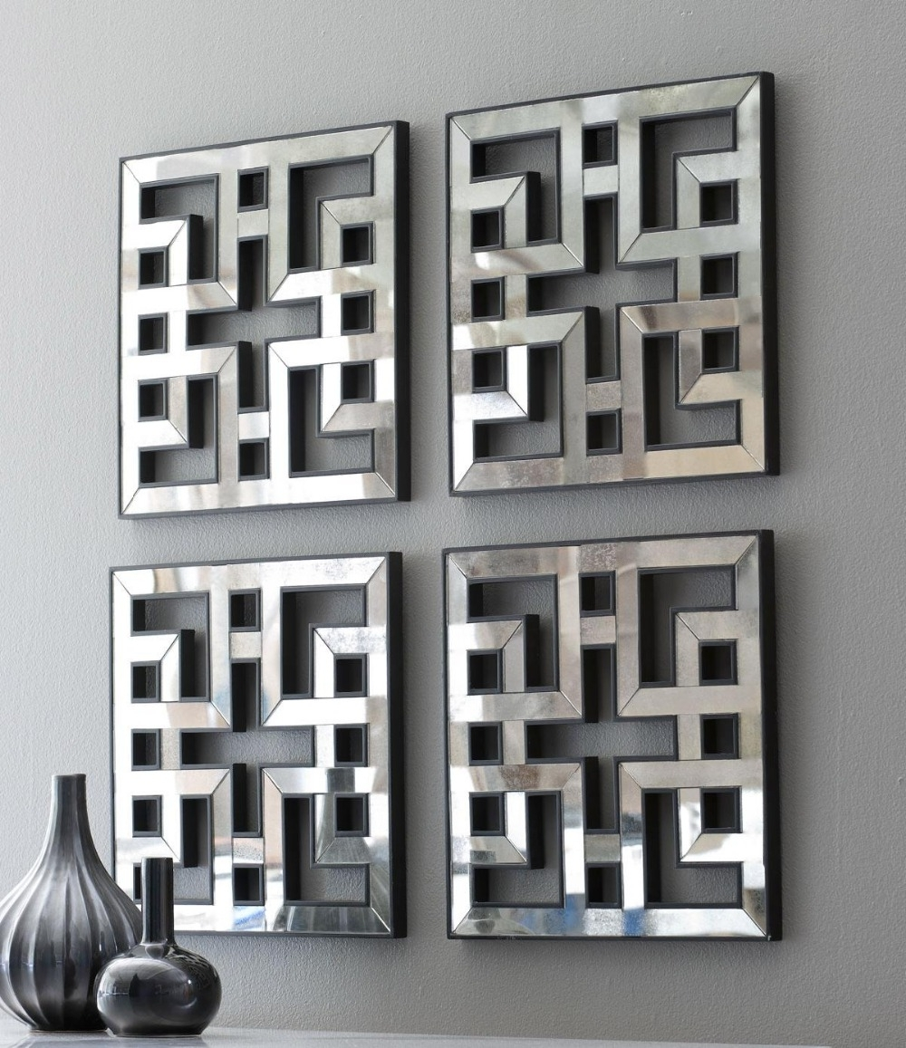 Popular Mirrors Modern Wall Art With Regard To Mirrored Wall Decor Fretwork Square Mirror Framed Wall Art D F (View 15 of 15)