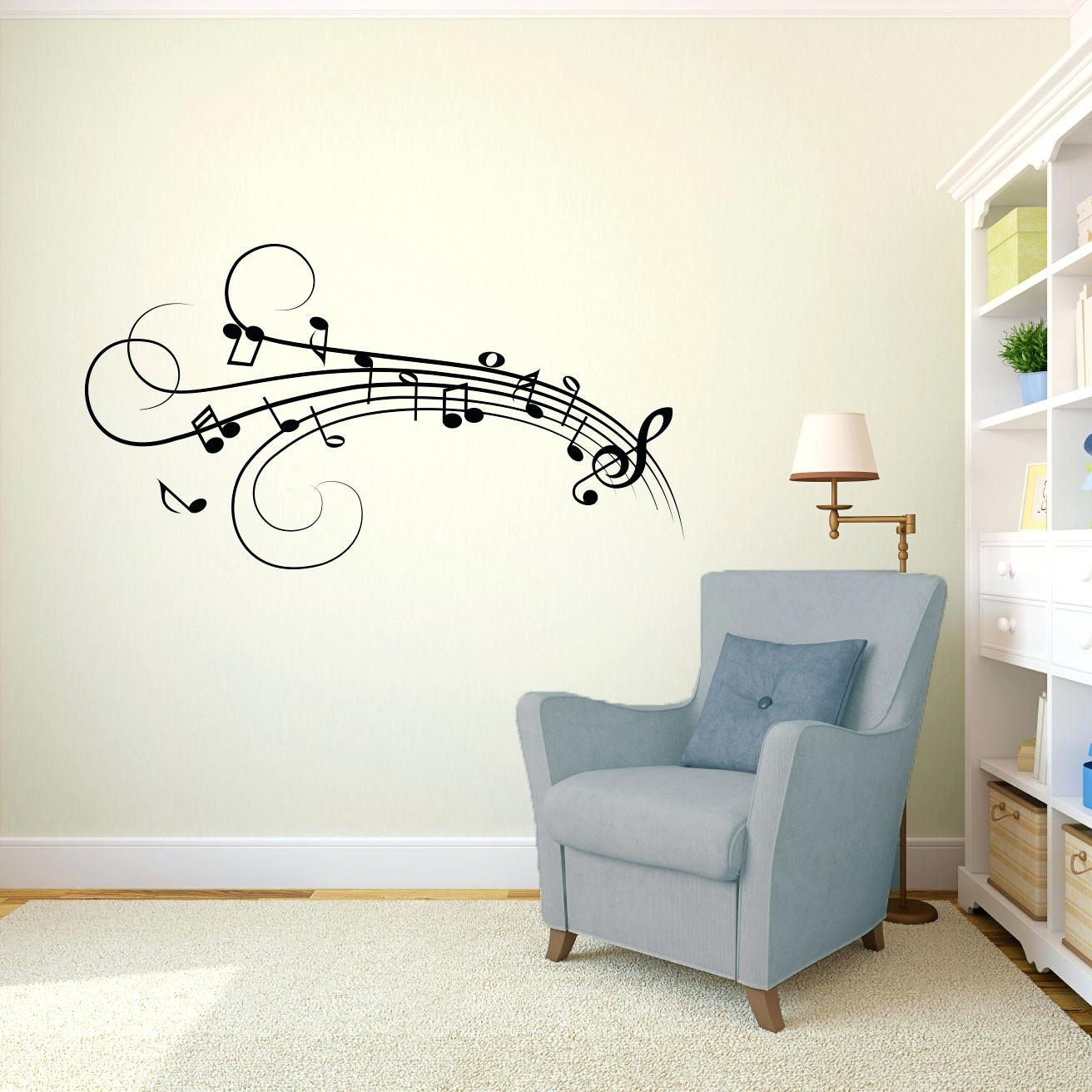 Popular Music Notes Wall Art Decals Pertaining To Musical Notes Wall Decals – Gutesleben (View 12 of 15)