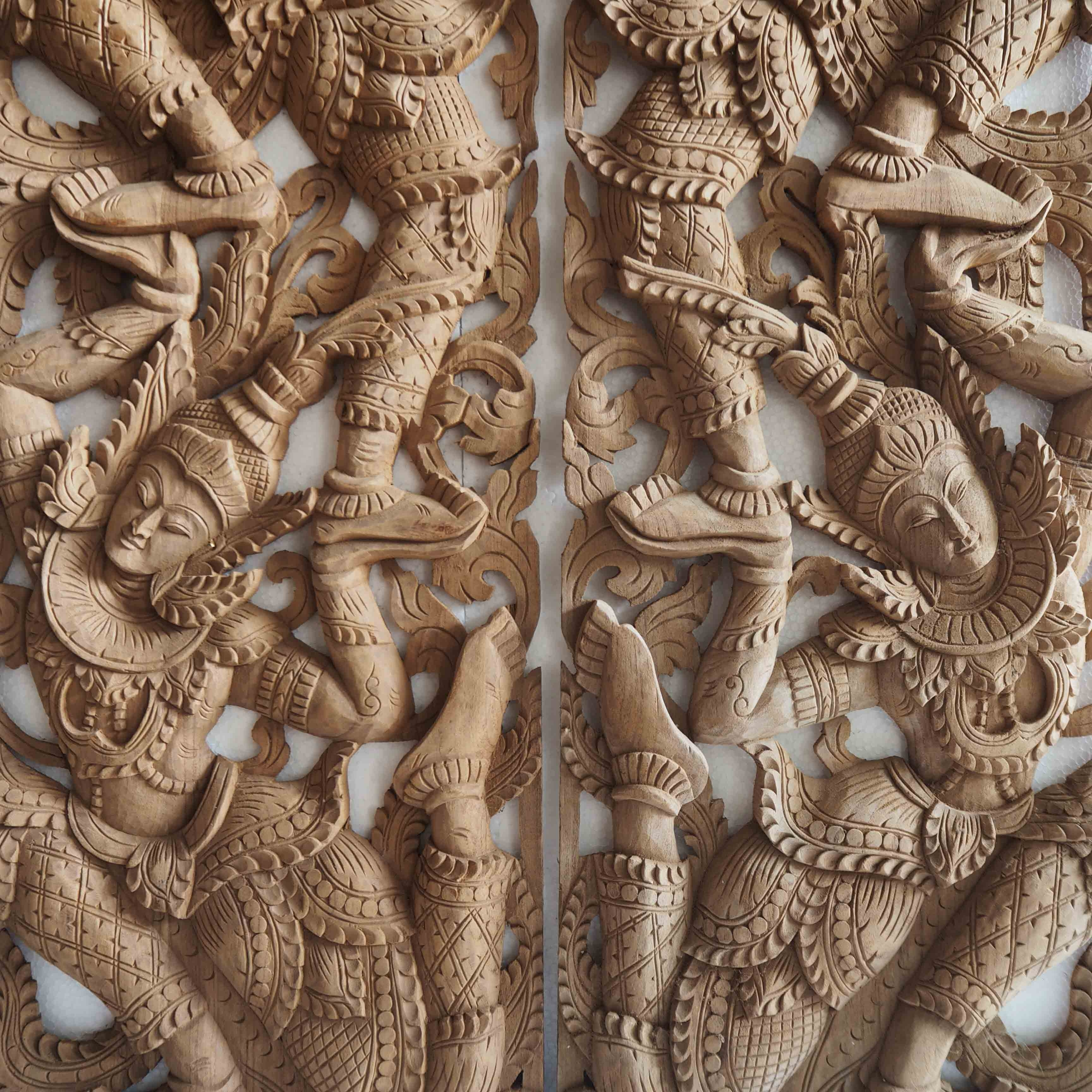 Popular Pair Of Wooden Wall Art Panel From Thailand – Siam Sawadee In Wood Carved Wall Art Panels (View 7 of 15)