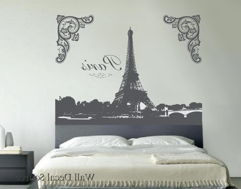 Popular Paris Themed Wall Art Inside Eiffel Tower Wall Decal. $99.00, Via Etsy (View 6 of 15)