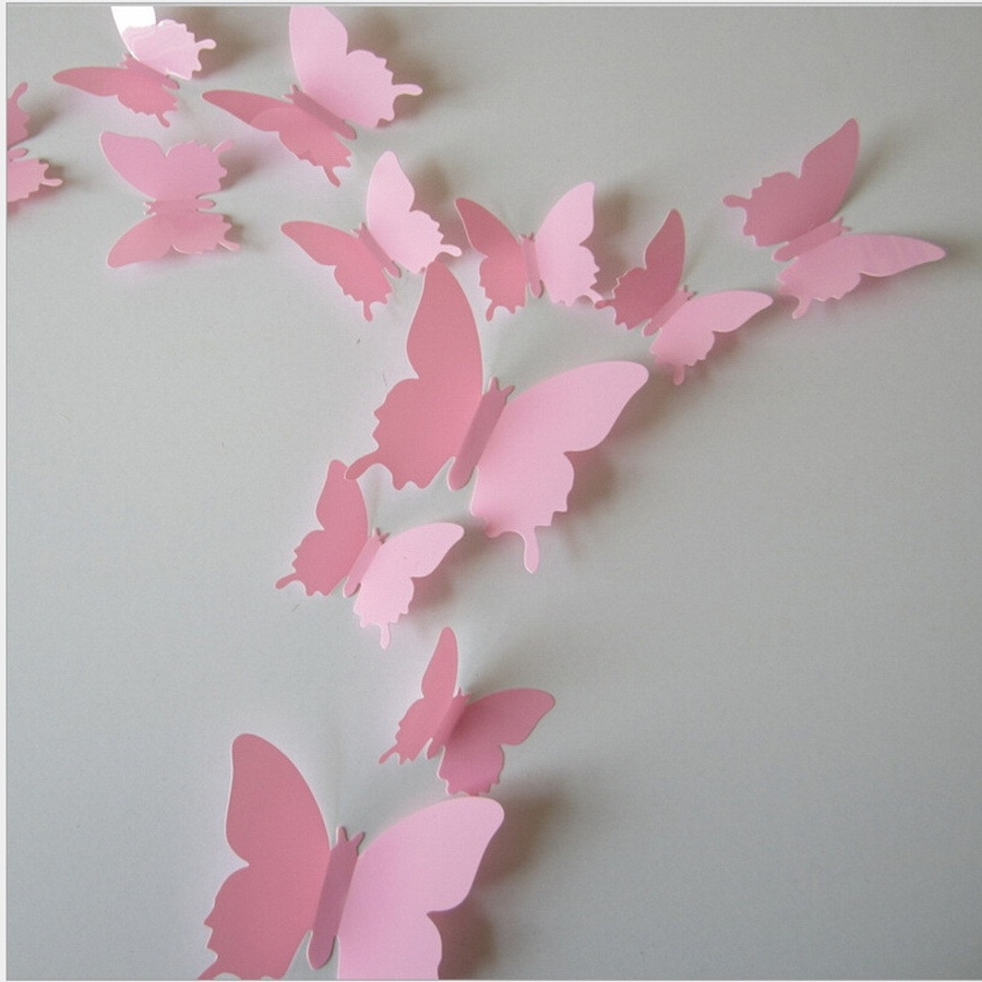 Popular Pink Butterfly Wall Decals 3D Classic Themes Impressive White In White 3D Butterfly Wall Art (View 9 of 15)