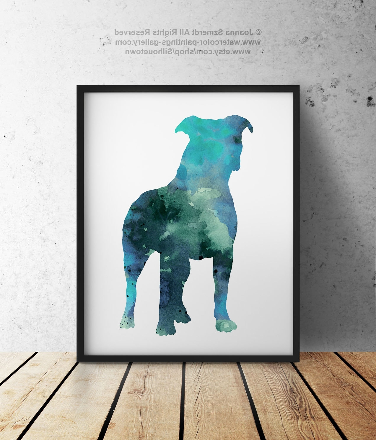 Popular Pitbull Wall Art Within Blue Pitbull Silhouette Gift Idea Abstract Kids Room Dog Wall Art (View 1 of 15)
