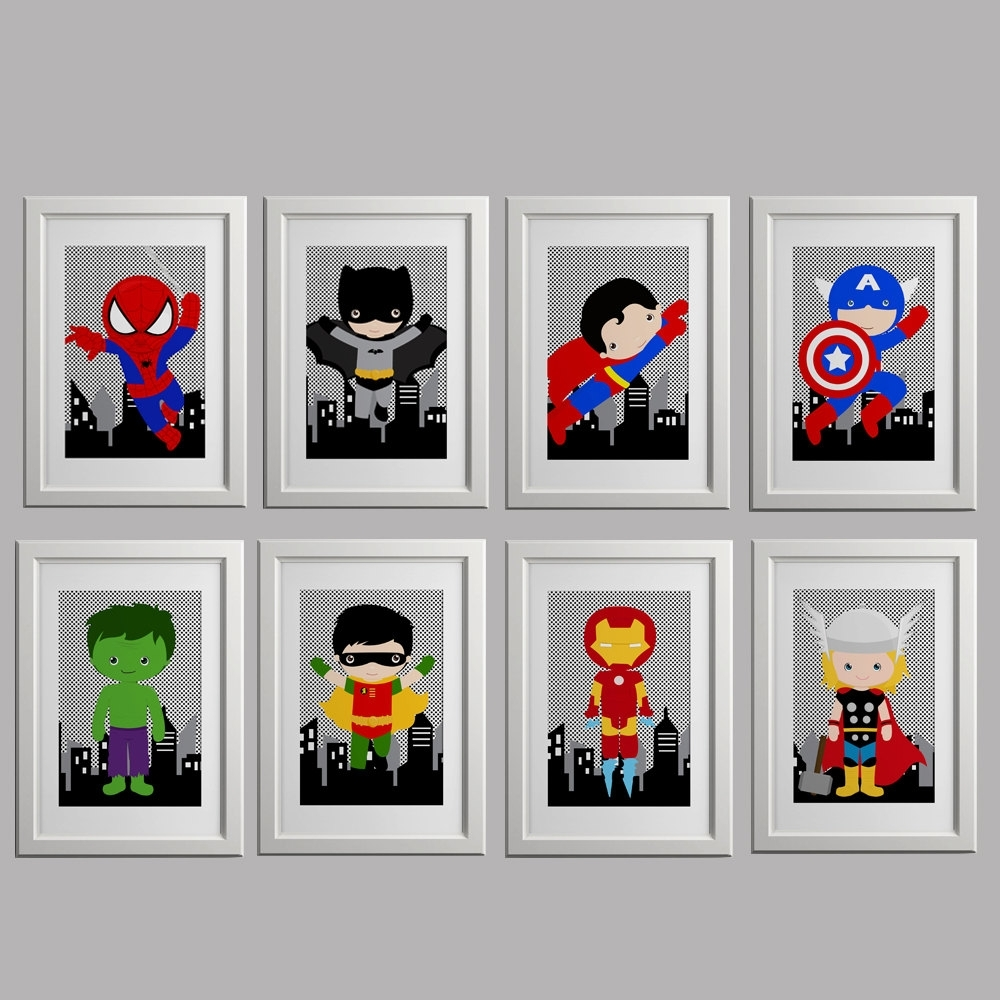 Popular Superhero Wall Art For Kids Inside Pick Four Super Hero Wall Art Boys Room Artamyssimpledesigns (View 6 of 15)