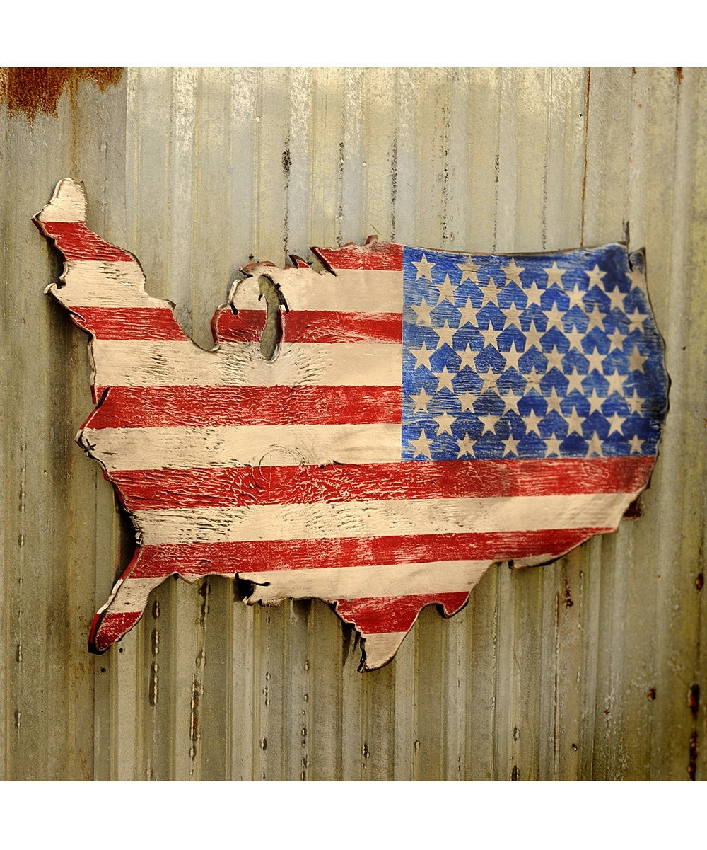 Popular Usa Wooden Flag Map Art Large Us Map Art Wooden Stars And Stripes With Us Map Wall Art (View 6 of 15)