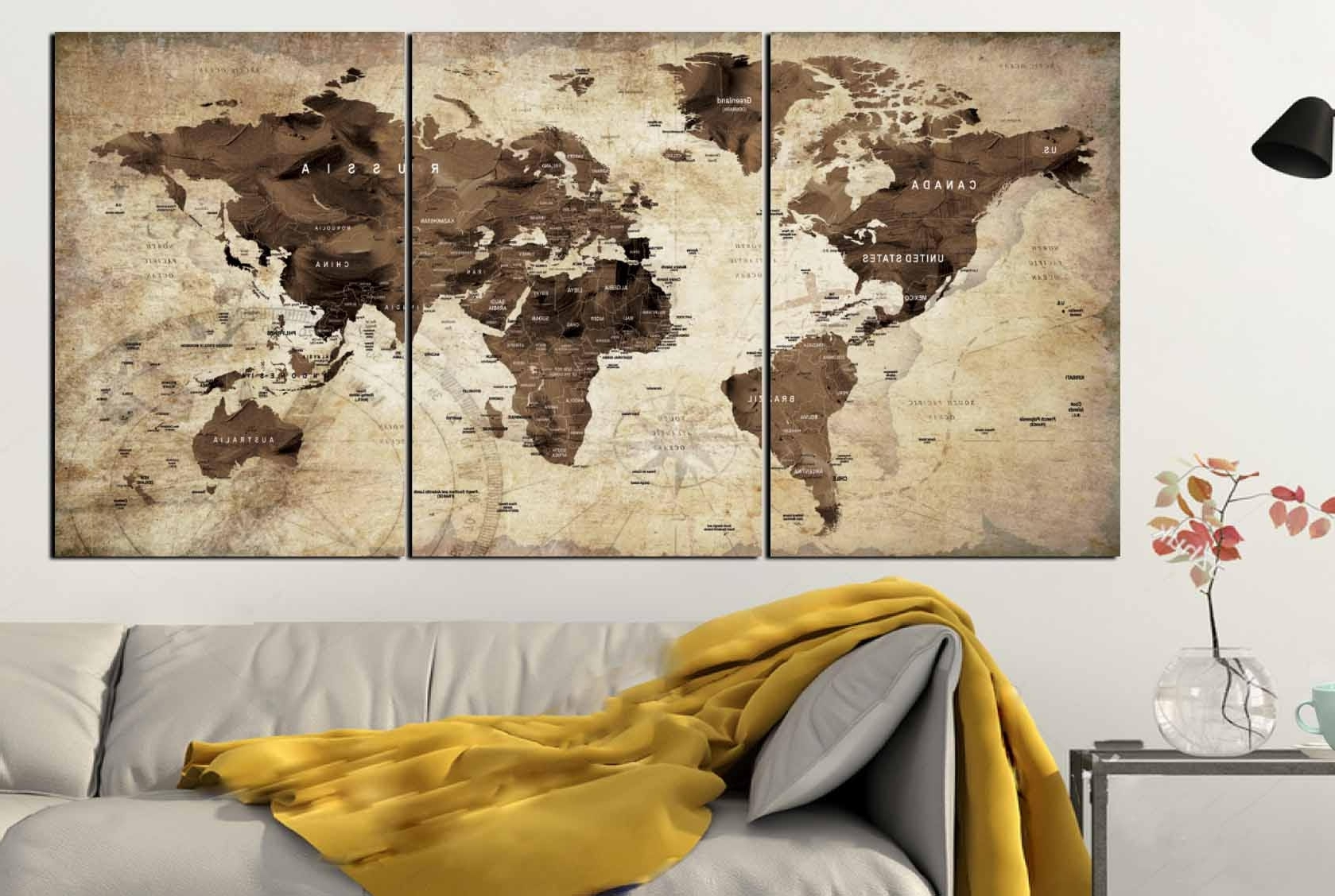 Popular Vintage Map Wall Art With Regard To World Map,world Map Vintage,vintage Map Art,world Map Wall Art (View 5 of 15)