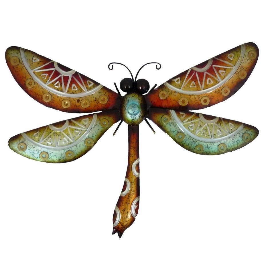 Popular Wall Art Designs: Dragonfly Wall Art Colorful Metal Hanging Garden  Regarding Dragonfly 3D Wall